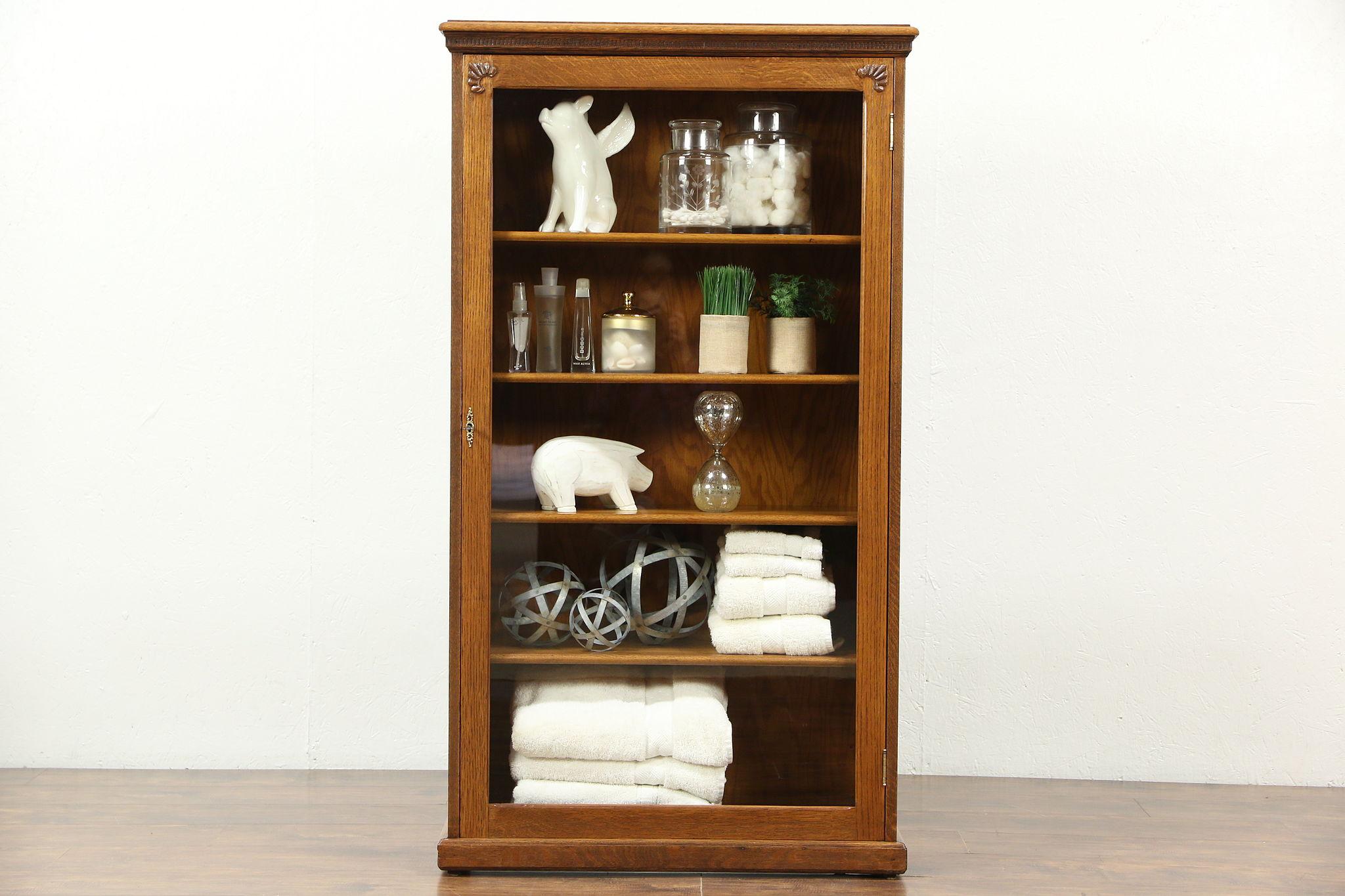 Victorian 1900 Antique Bookcase, Display Or Bathroom Cabinet