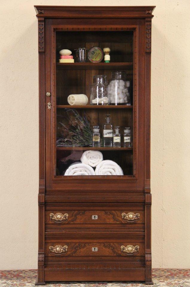 Victorian Eastlake 1885 Antique Walnut Bookcase or Glass Door Cabinet - SOLD - Victorian Eastlake 1885 Antique Walnut Bookcase Or Glass Door