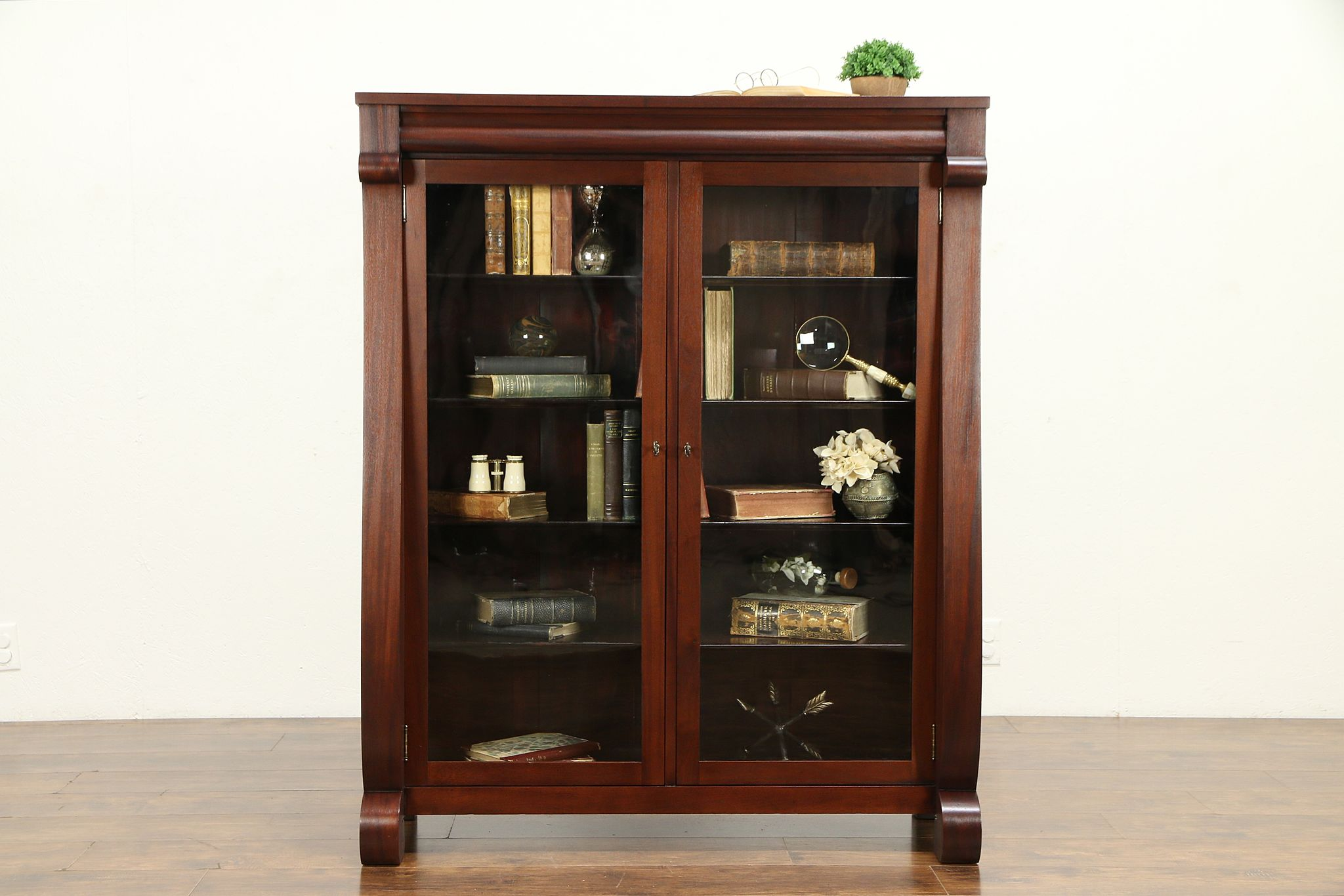 Sold Empire Antique Mahogany Library Bookcase Wavy Glass Doors 32198 Harp Gallery Antiques Furniture