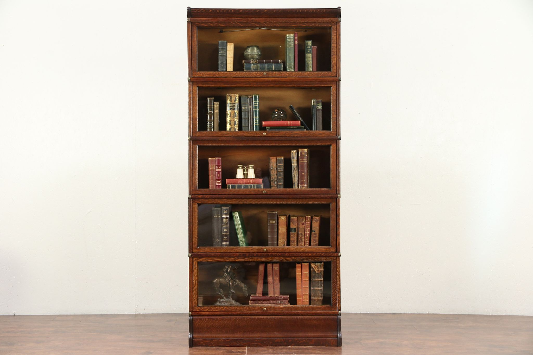 Globe Wernicke Signed Antique Oak 5 Stack Lawyer Or Barrister Bookcase 29787