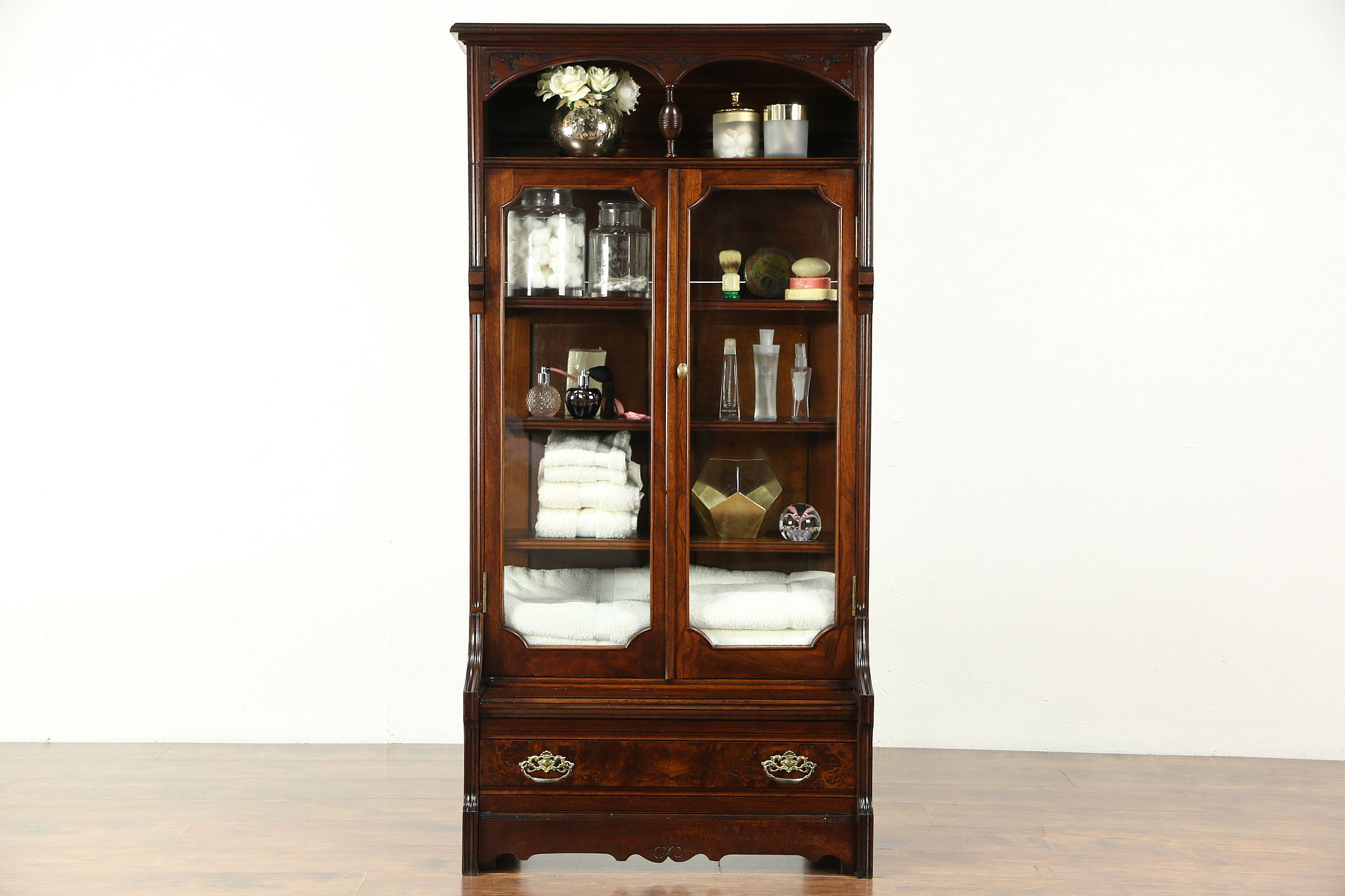 Victorian Eastlake 1880 Antique Walnut Curio Cabinet Or Bookcase