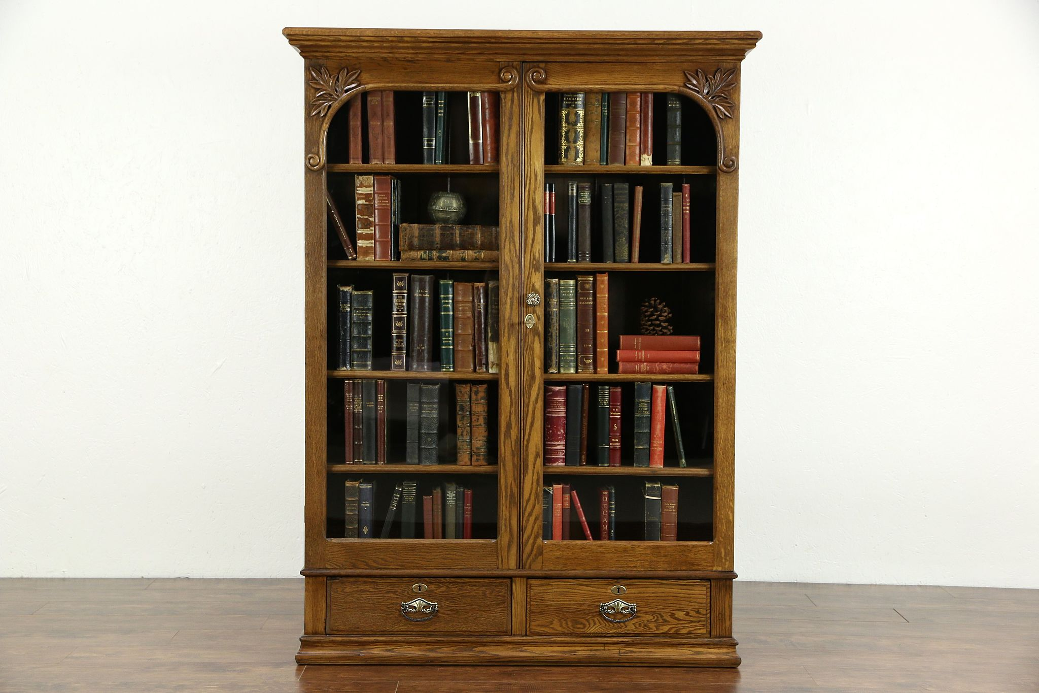 sold oak carved victorian 1900 antique library bookcase 2 glass
