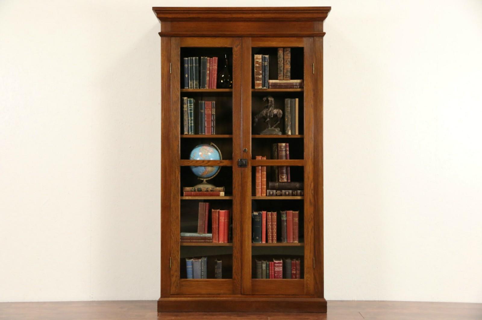 Oak 1900 antique tall bookcase display cabinet glass doors adjustable shelves