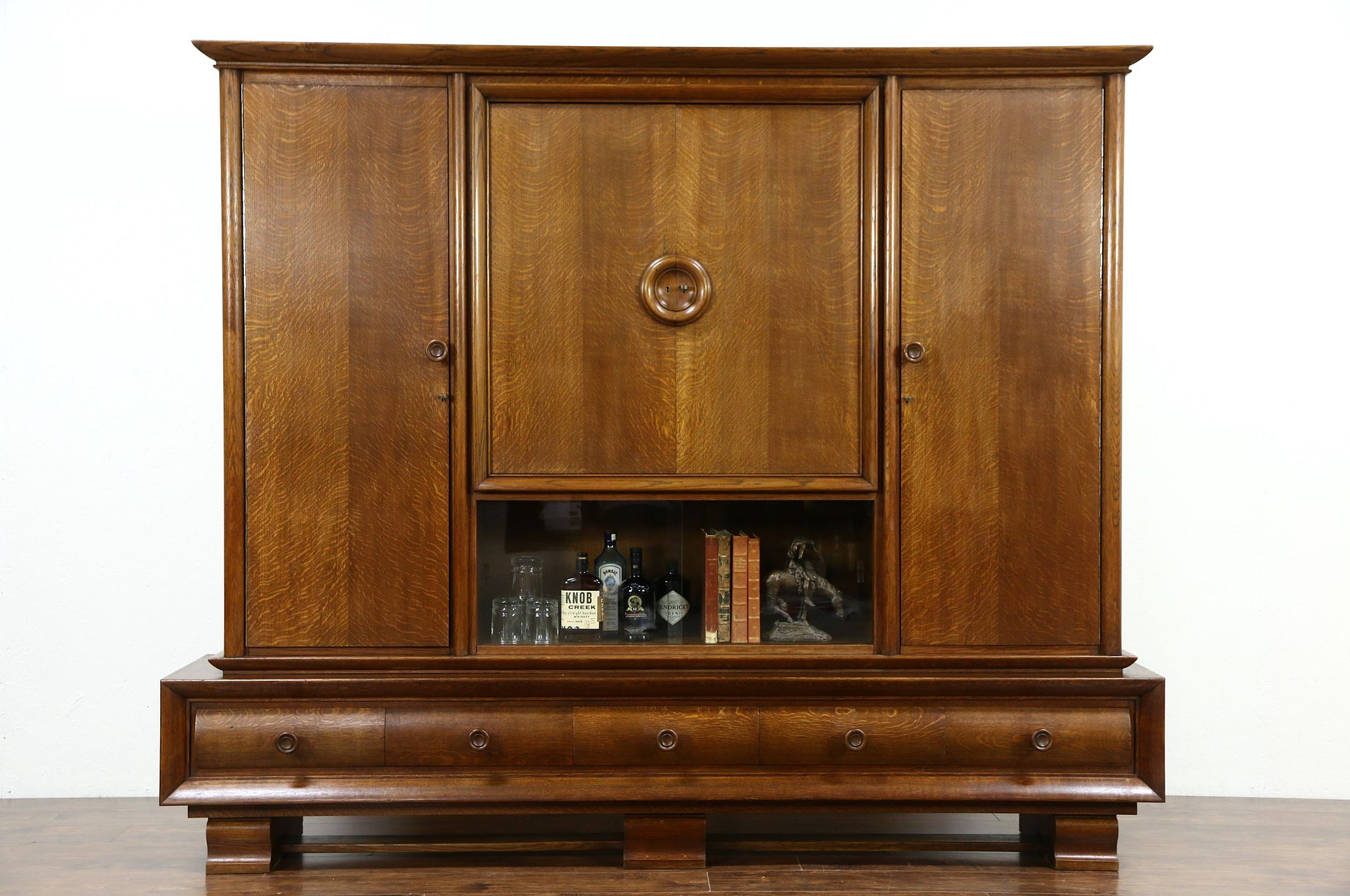 Art Deco Oak Antique Scandinavian 1920 Library Bookcase Cabinet, Bar U0026  Armoire ...