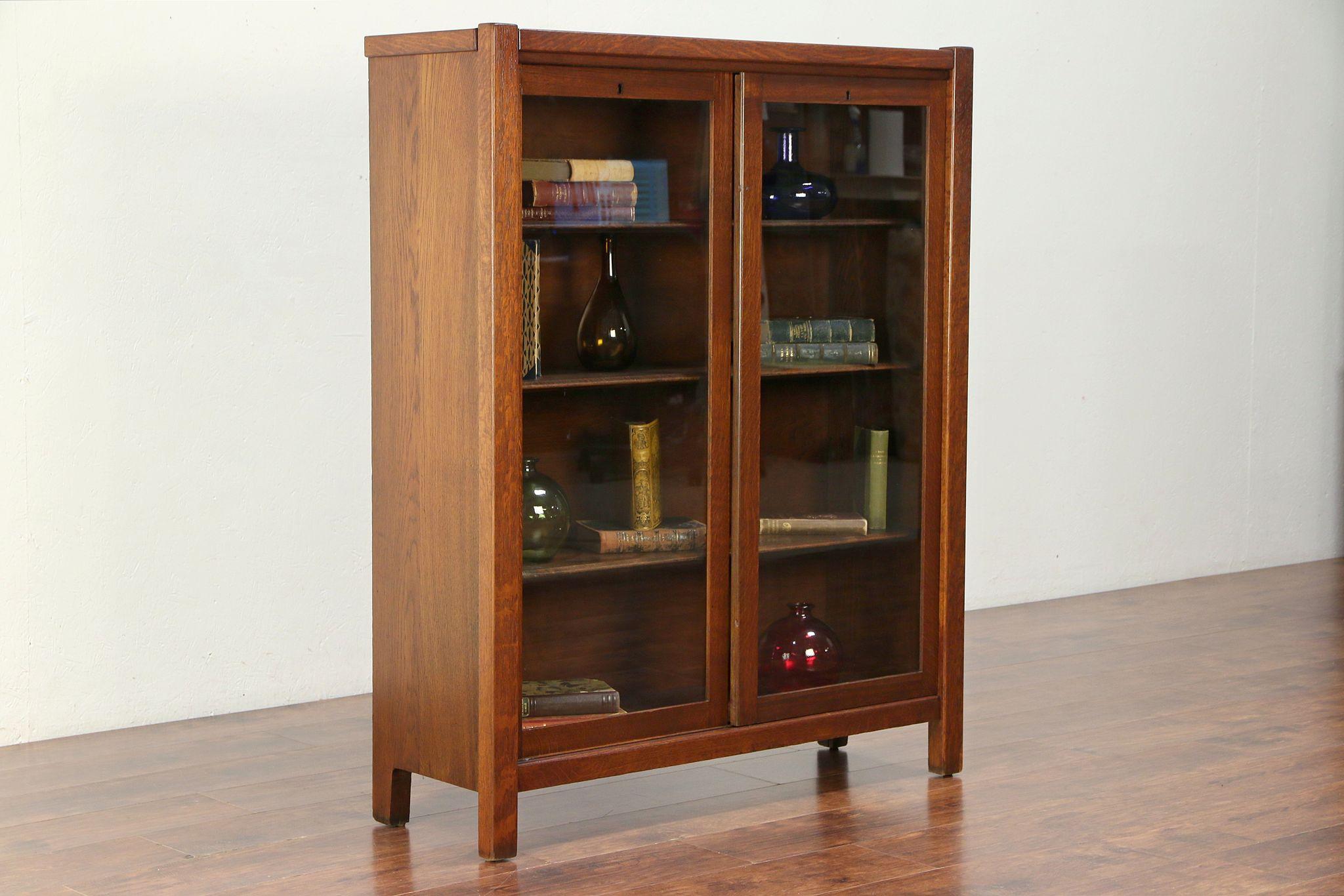 Arts Crafts Mission Oak Antique Craftsman Bookcase Sliding Glass Doors 30015
