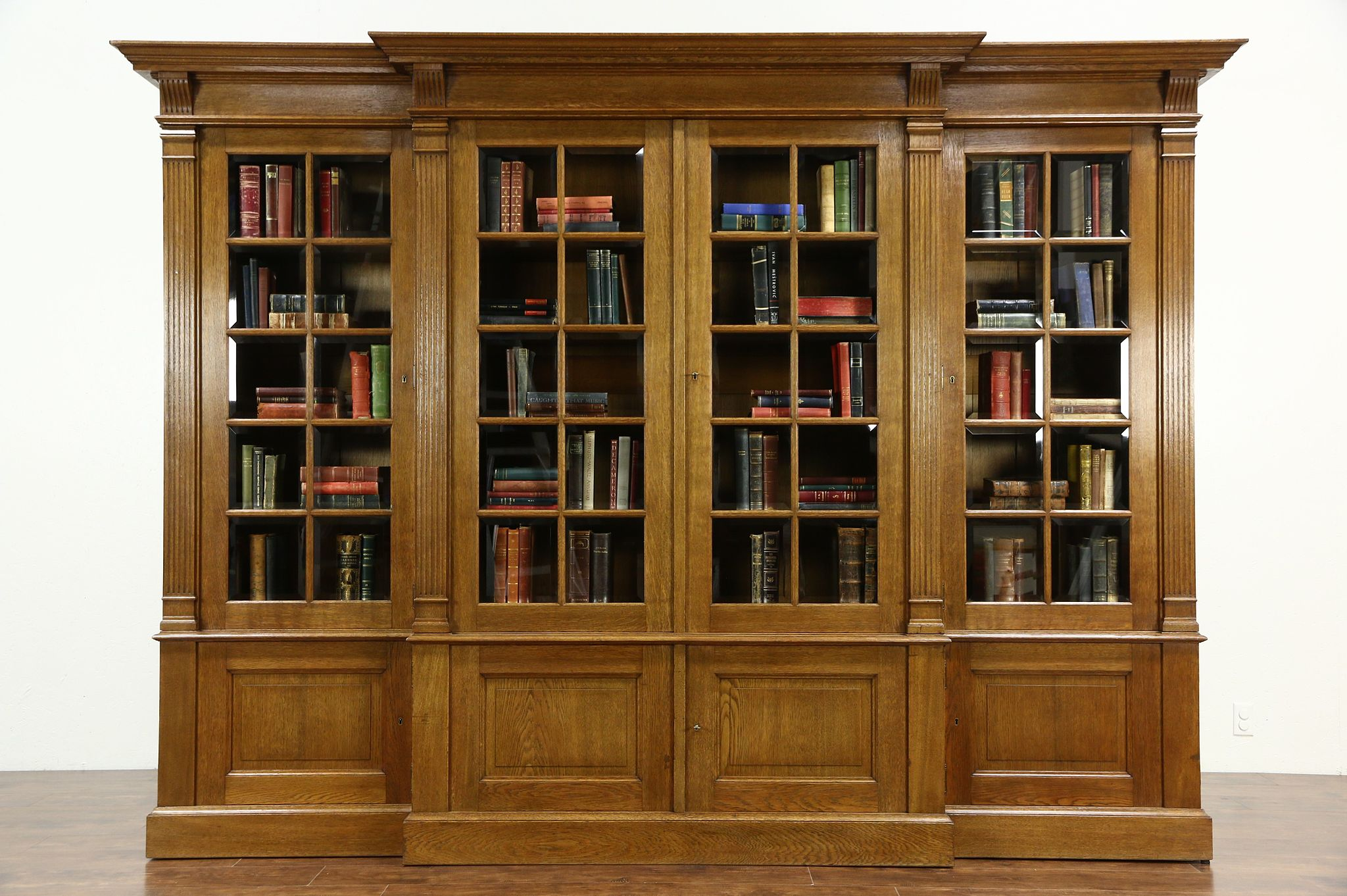 French Oak 1920 S Antique 10 Library Bookcase Beveled Gl Doors