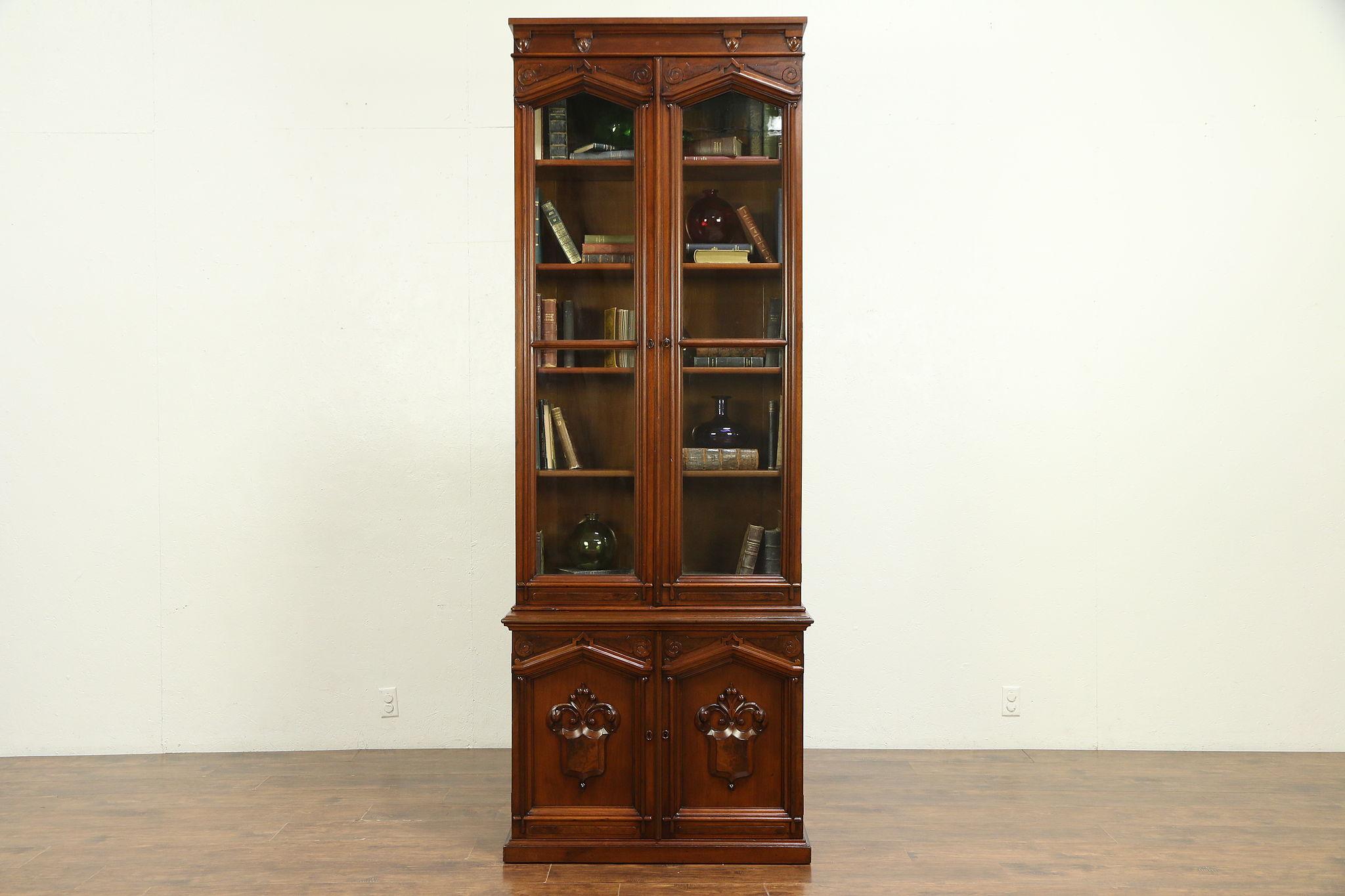 Victorian Antique 1870 Walnut Burl Tall Bookcase Wavy Glass Doors 30304