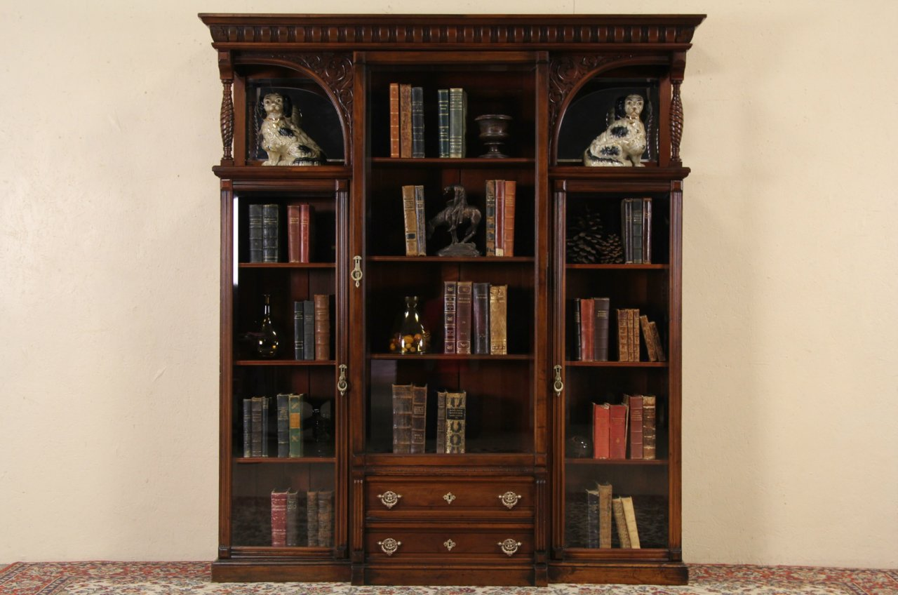 Victorian 1890 Antique Cherry Triple Bookcase, Beveled Glass Doors - SOLD - Victorian 1890 Antique Cherry Triple Bookcase, Beveled Glass