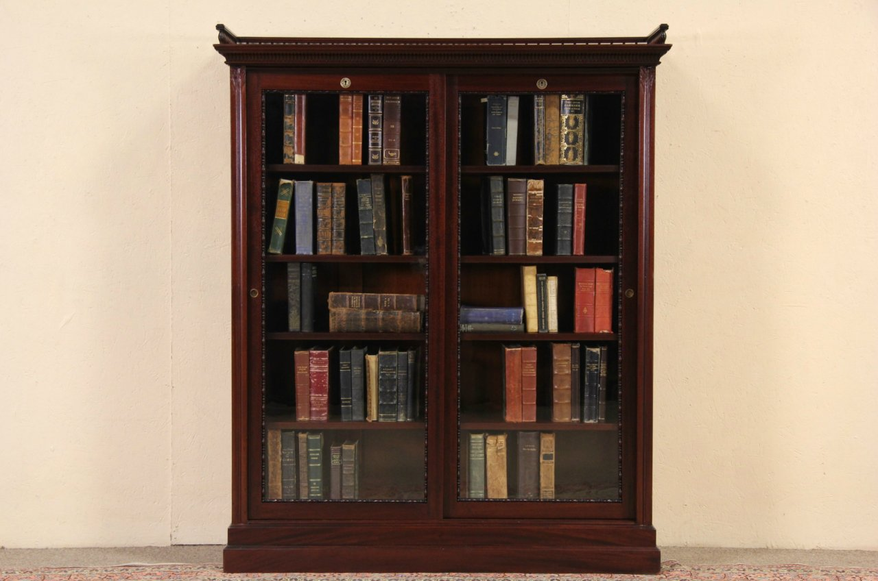 Sold Bookcase Display Cabinet 1890 Mahogany Boston Antique