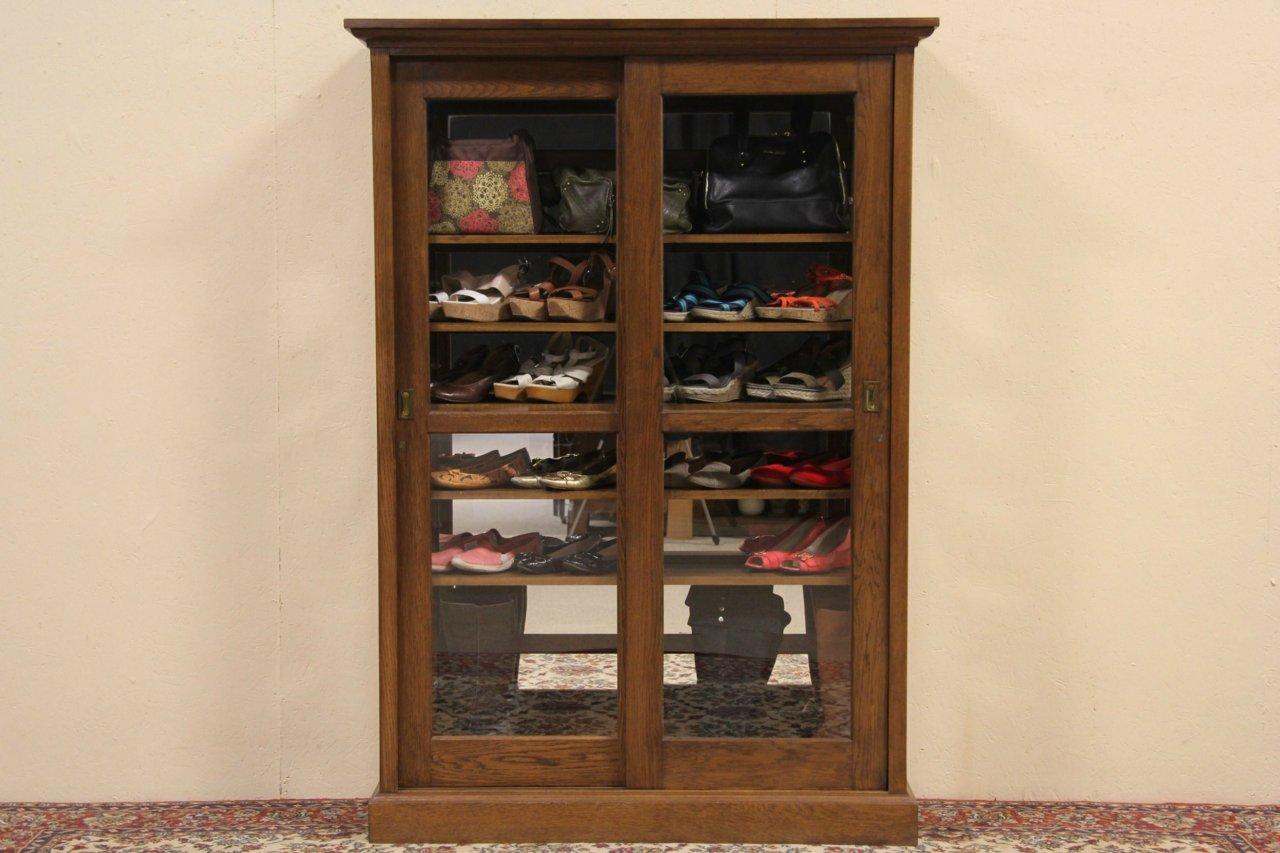 Sold Oak 1900 Antique Sliding Glass Door Bookcase Or