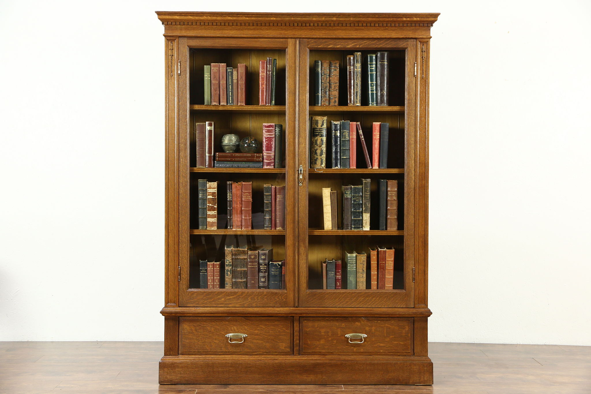 Sold Oak 1900 Antique Bookcase Glass Doors Adjustable Shelves