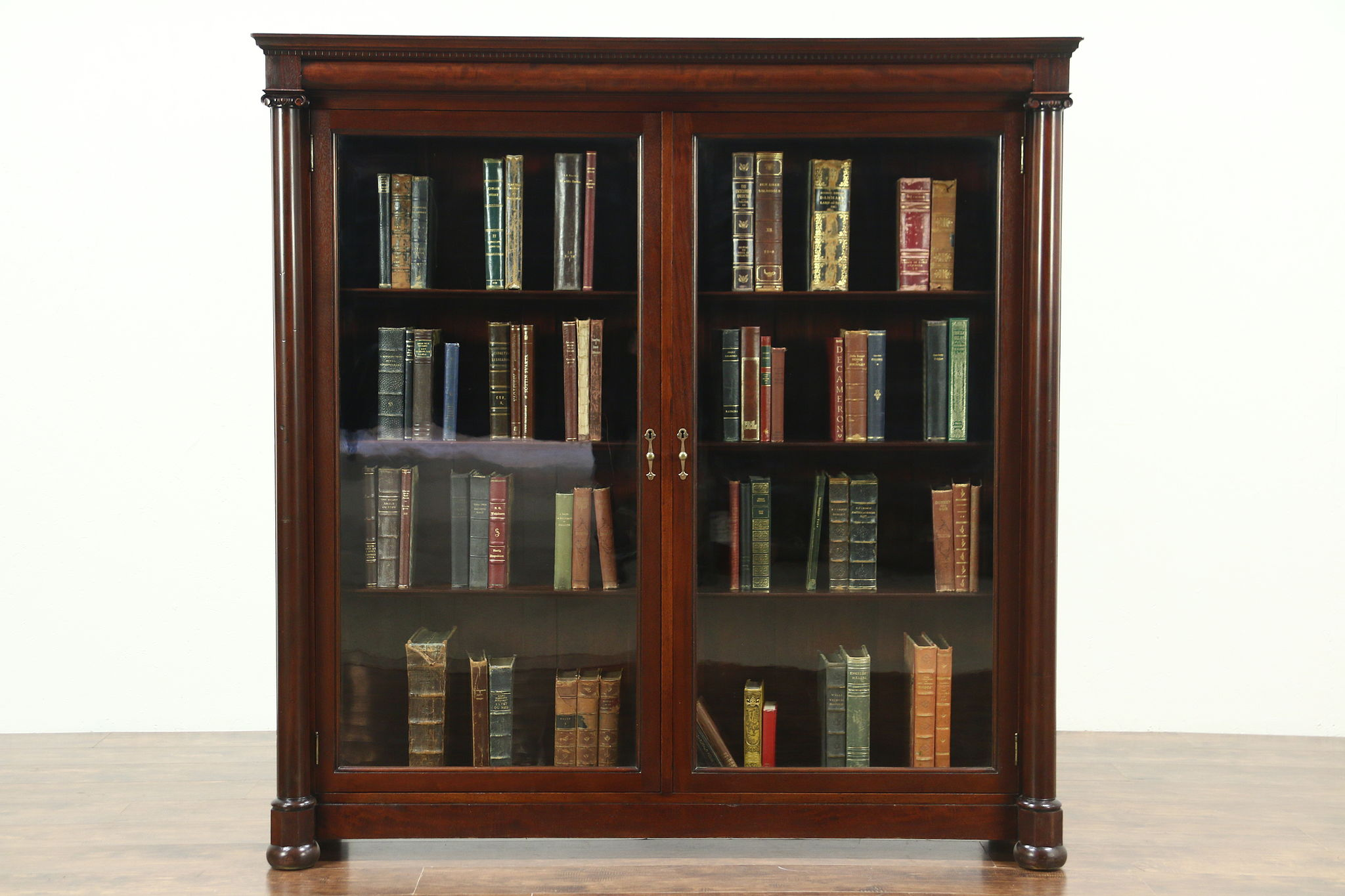 Sold Empire 1900 Antique Mahogany Classical Library Bookcase Wavy Glass Doors Harp Gallery Antiques Furniture