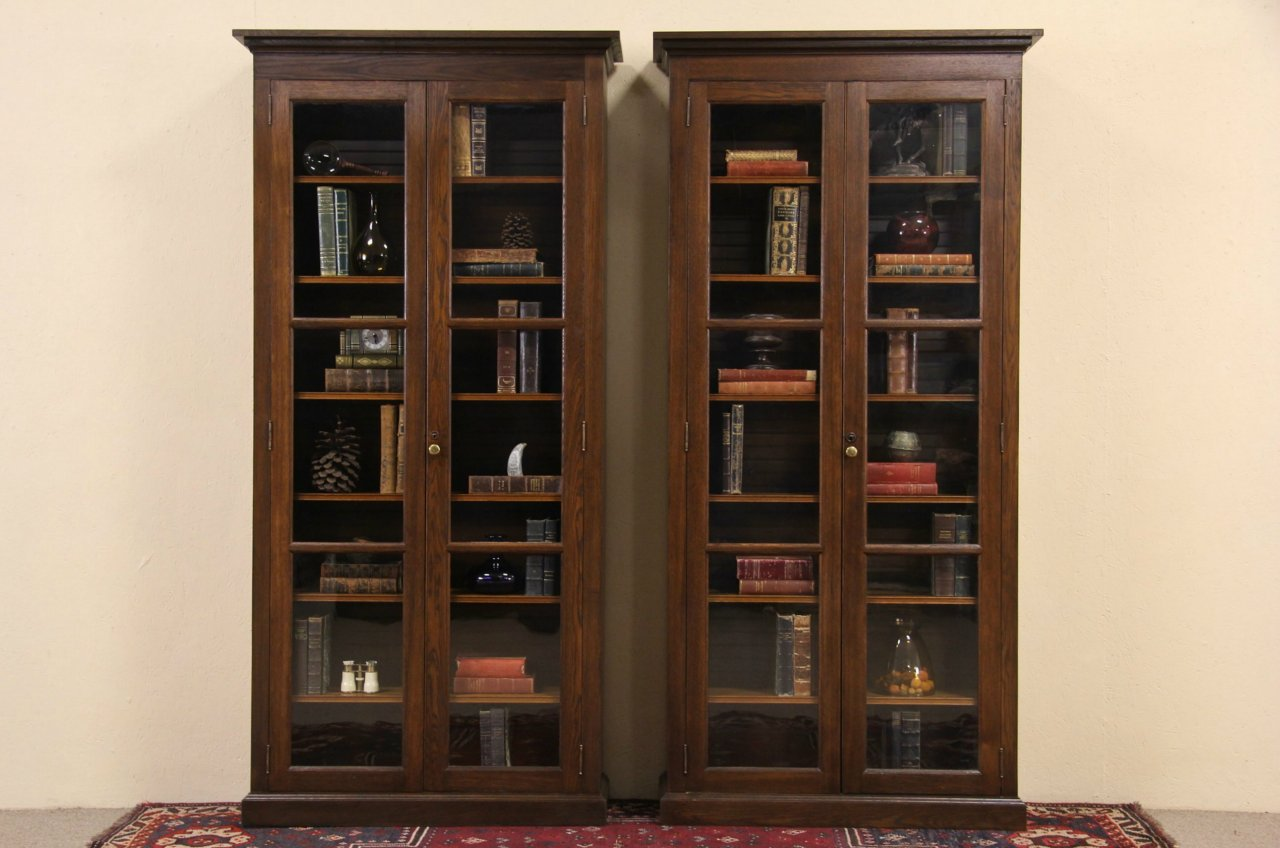 Pair Of 1900 Oak Antique 7 Tall Bookcases Wavy Gl Doors