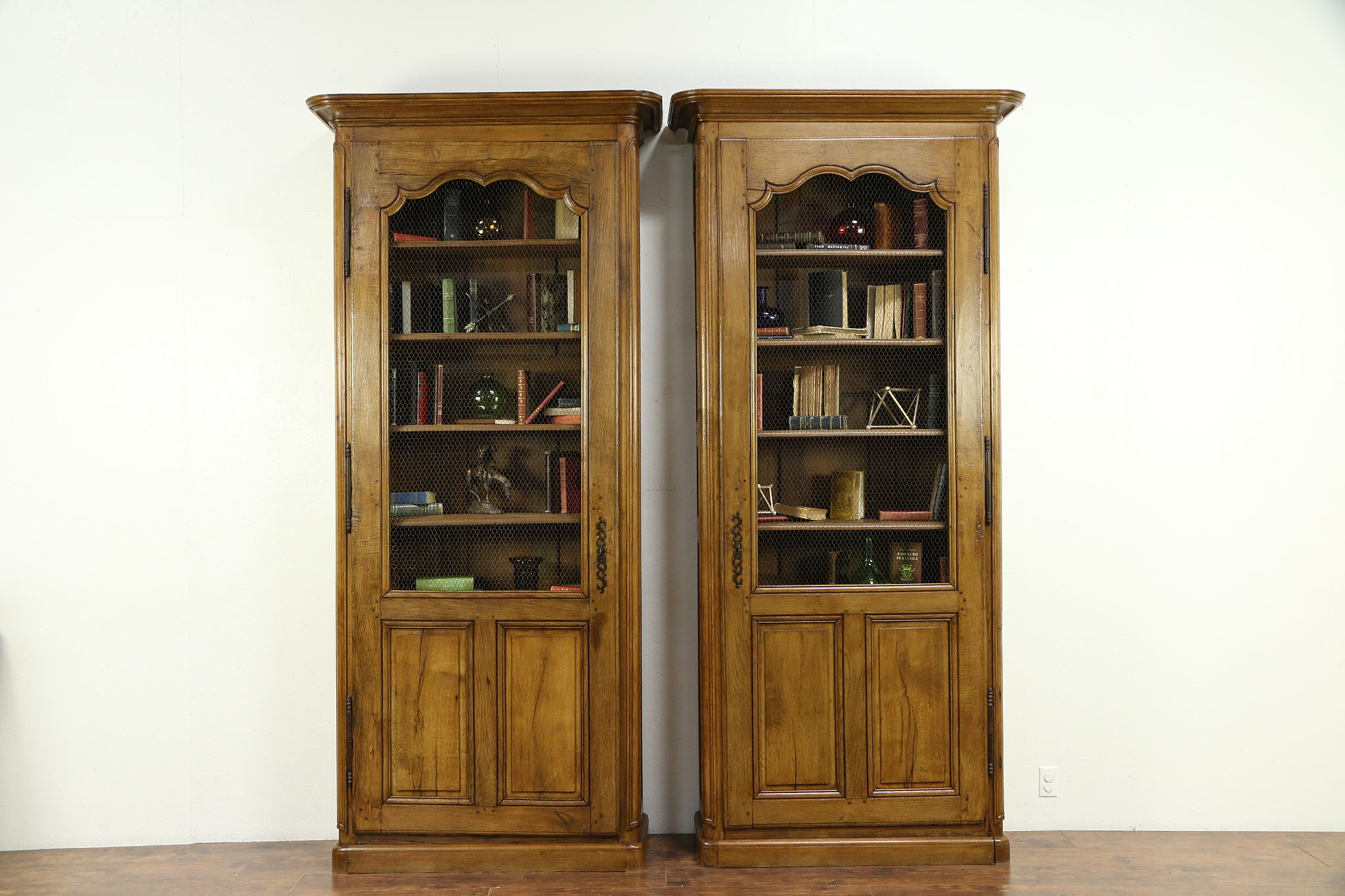 Pair French Country Provincial Oak 1780 Antique Library Bookcases 30693