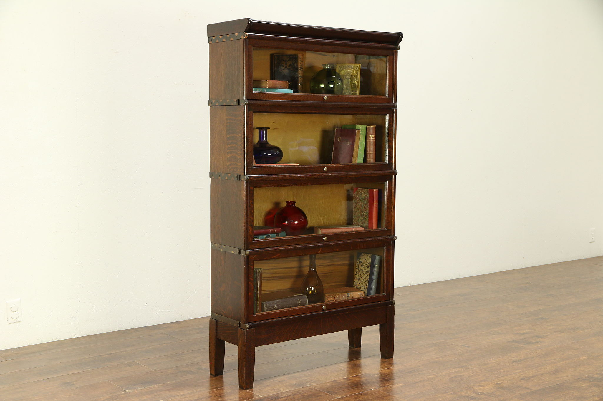 Oak Antique 4 Stack Lawyer Bookcase Signed Globe Wernicke Wavy Glass 30709