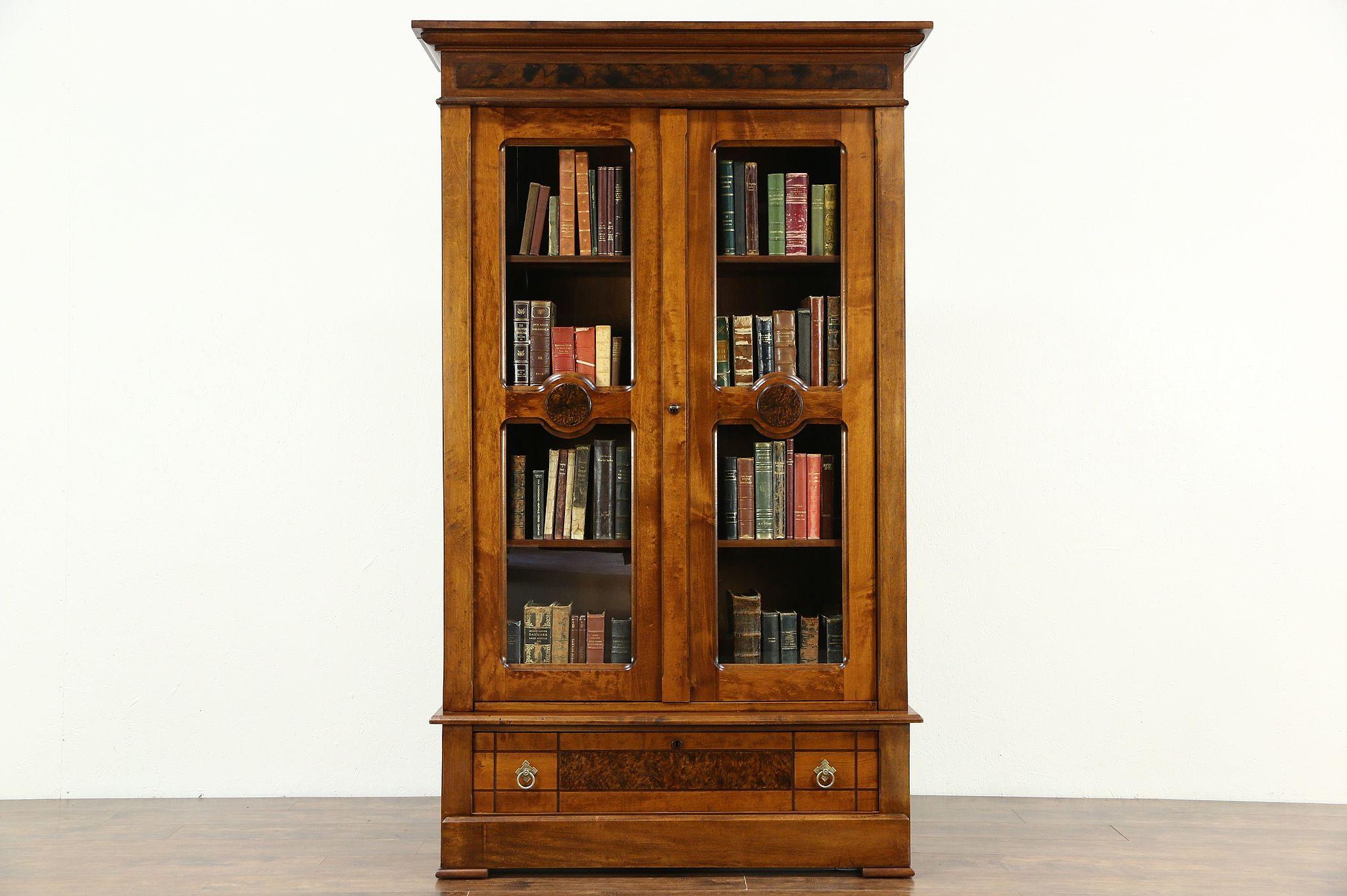 Victorian Eastlake 1885 Antique Bookcase Or Display Cabinet
