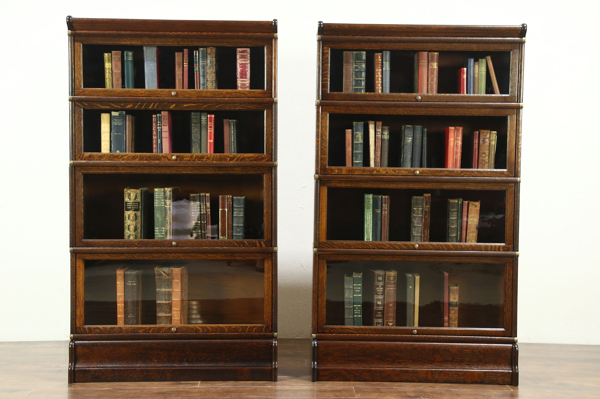 Lawyer Pair Antique 4 Stack Oak Bookcases Wavy Glass Doors Globe Wernicke