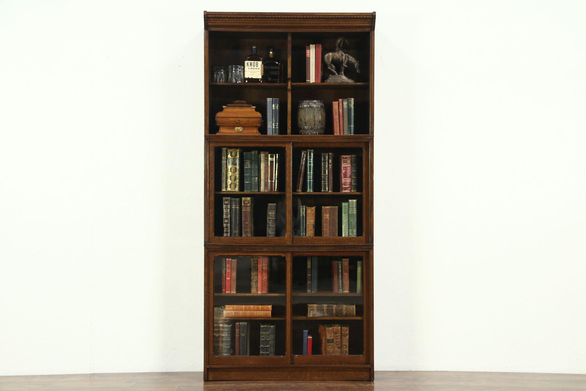 Oak Stacking Antique 3 Section Bookcase Bath Cabinet Sliding Gl