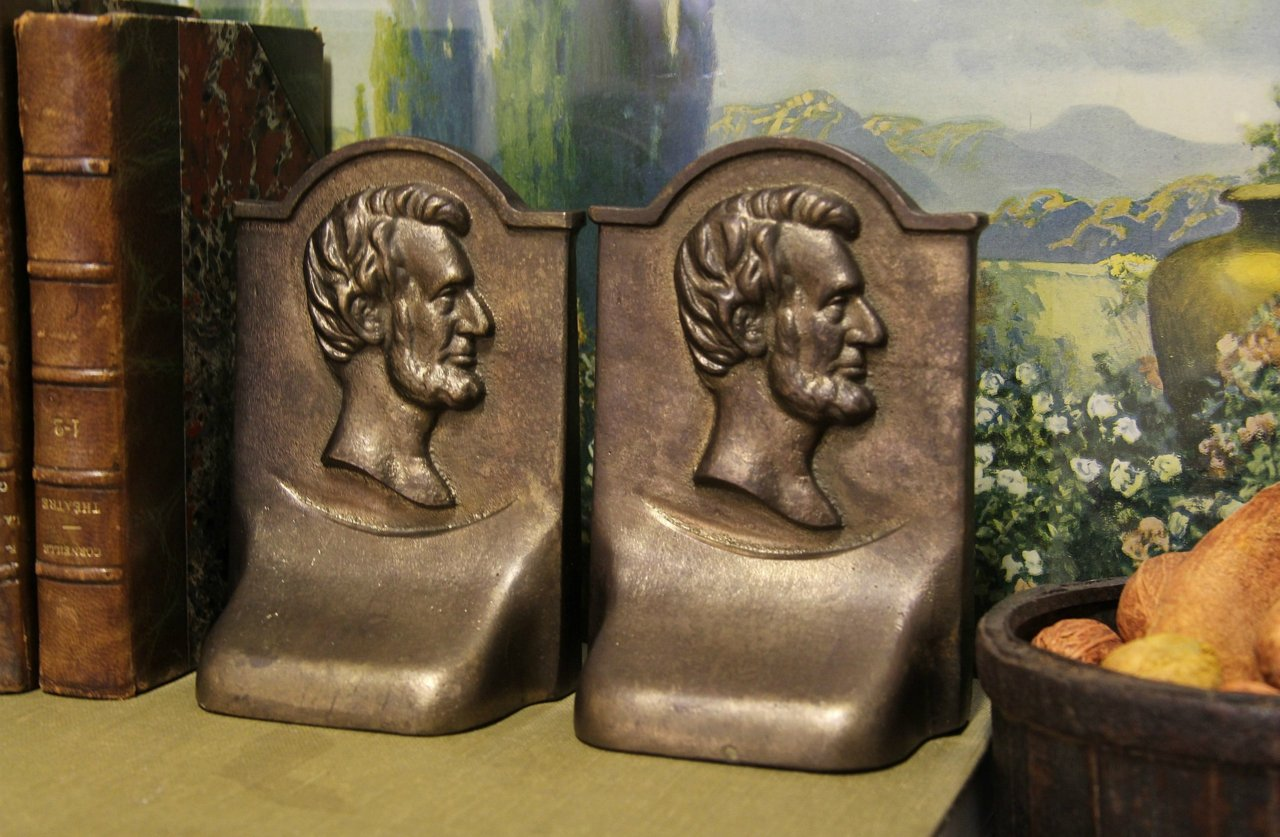 Sold Pair Of Antique Bronze Abraham Lincoln Bookends