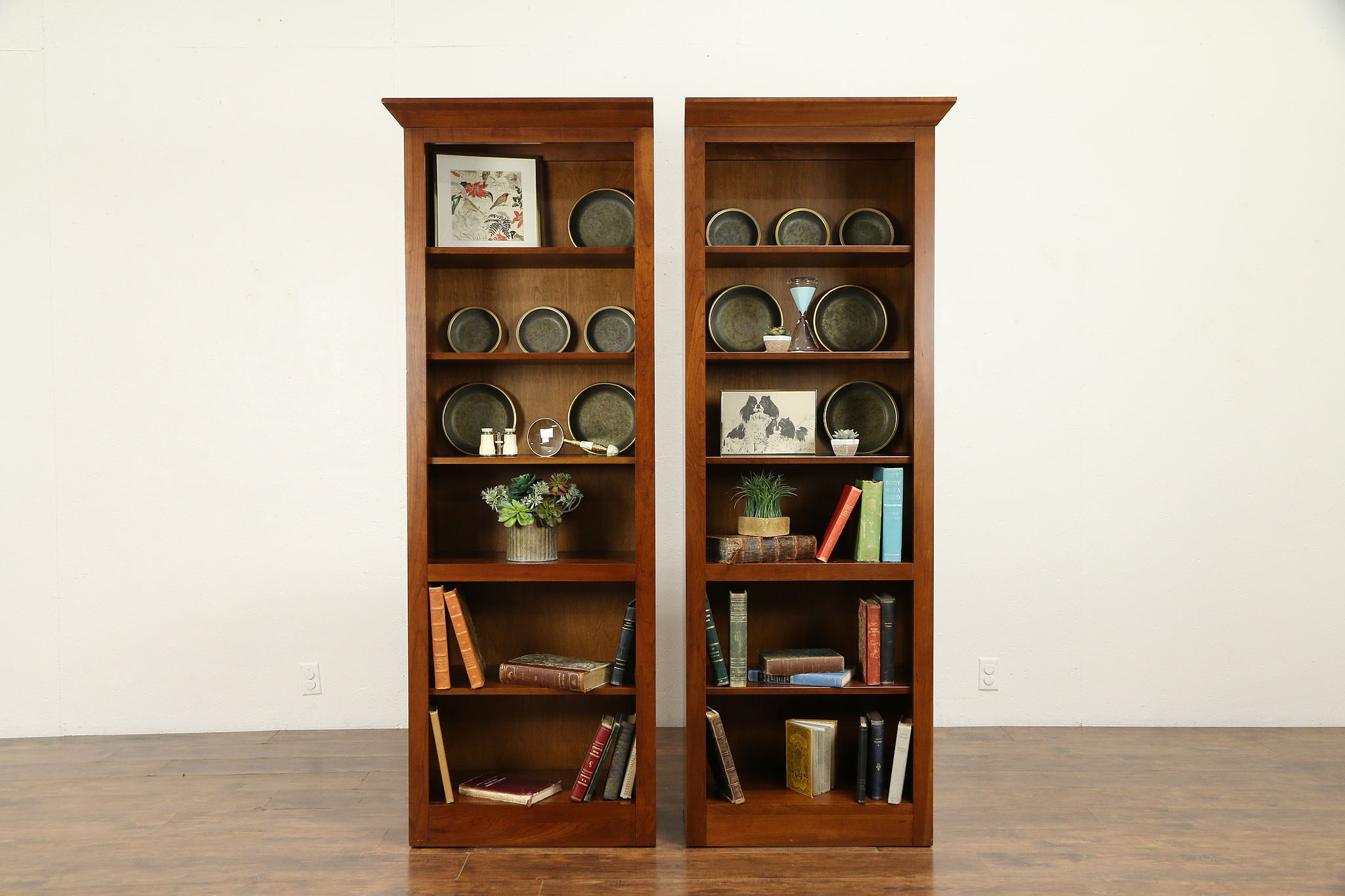 Ethan Allen Cherry Vintage Double Bookcase Display Cabinet 30891