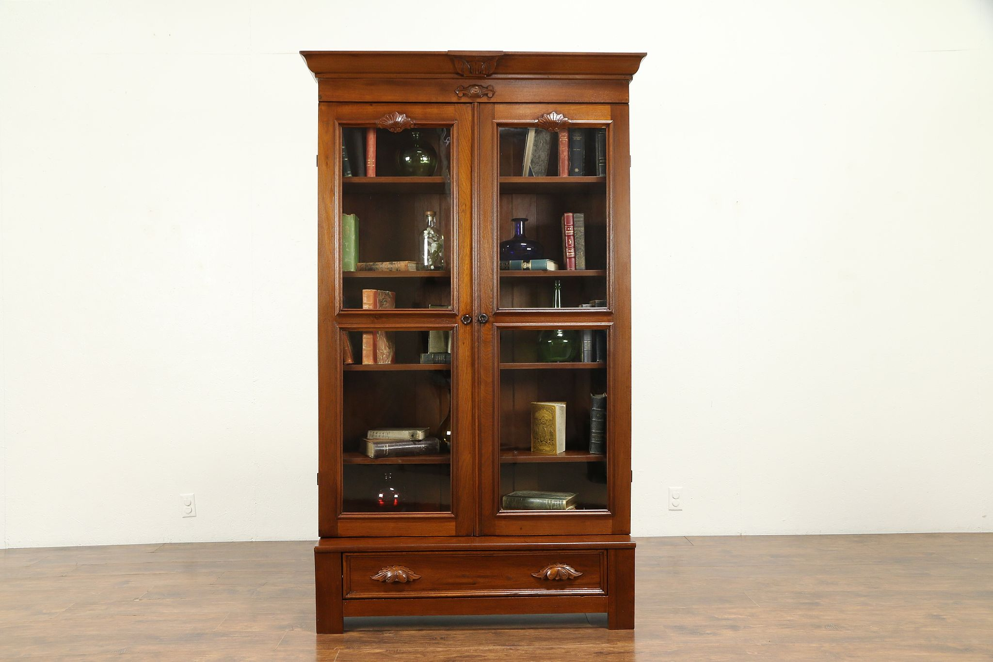 Victorian Antique Carved Walnut Library Bookcase Wavy Gl Doors 30974