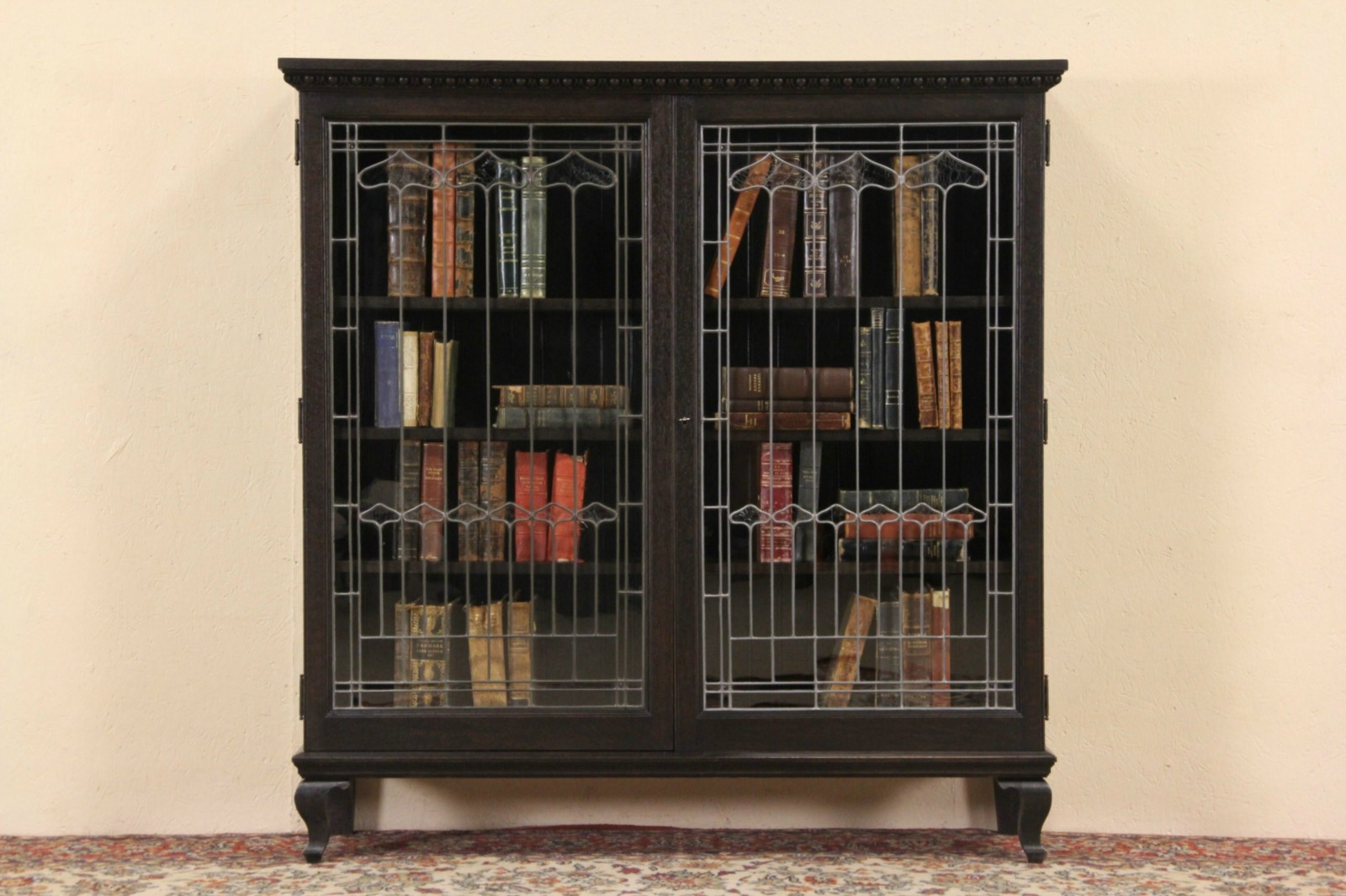 Sold oak ebonized 1895 antique library bookcase leaded for Old glass doors