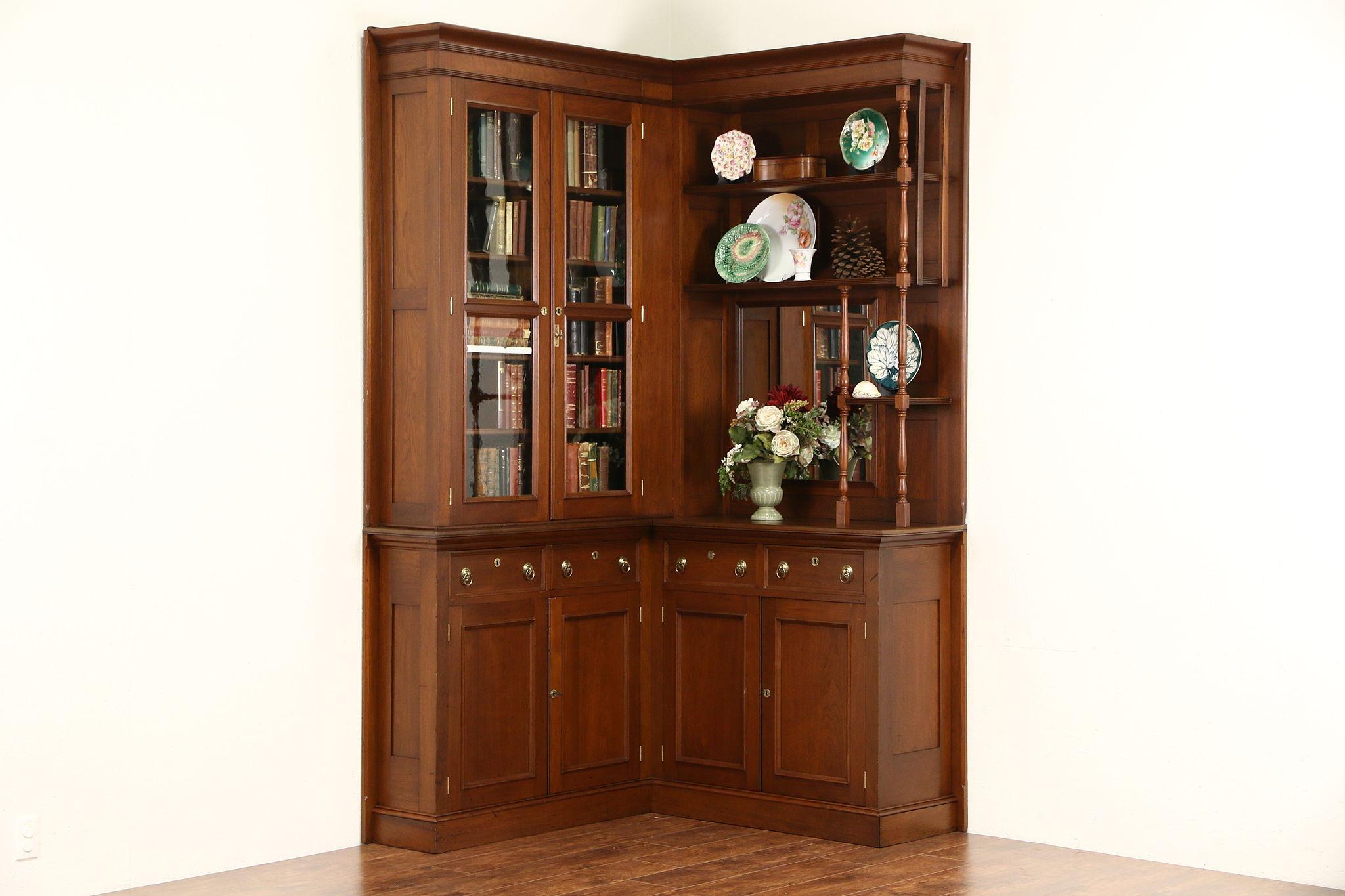 Victorian Eastlake Corner 1885 Antique Walnut Library Bookcase or ...