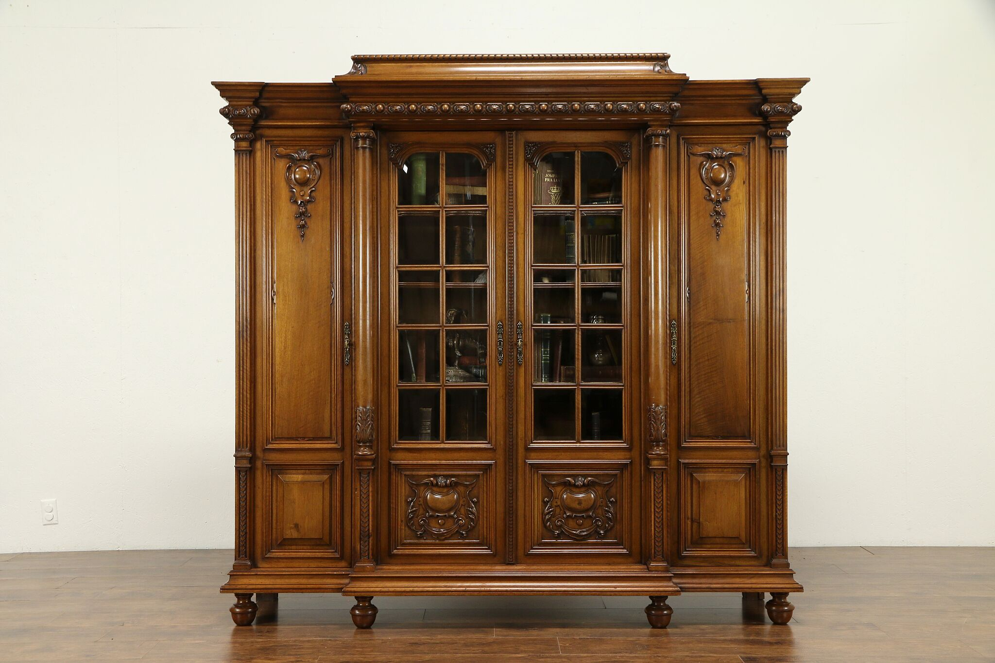 French Antique Carved Walnut 4 Door Library Bookcase Secret Compartment 31358
