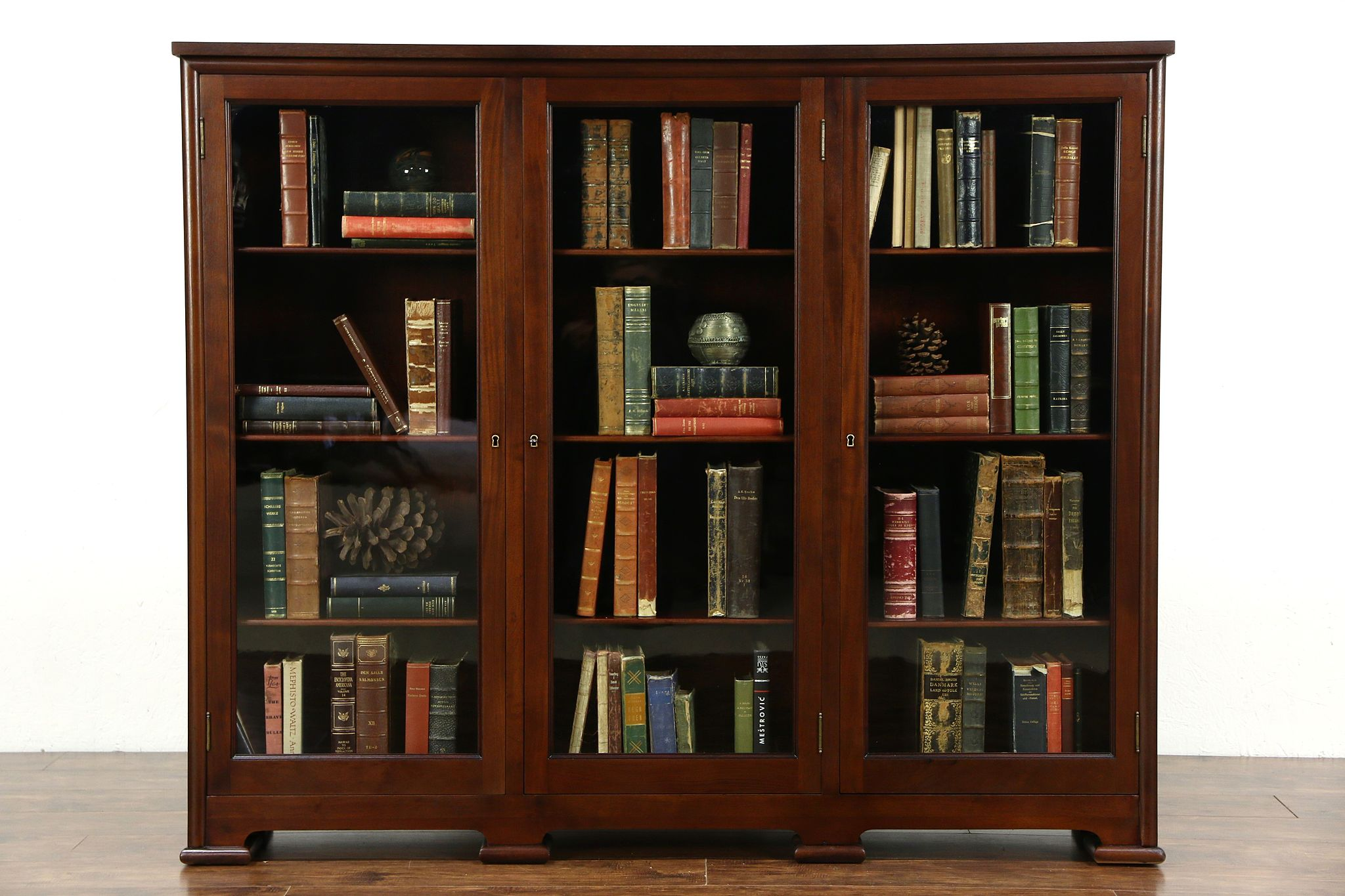 sold triple mahogany 1910 antique library bookcase 12 deep for