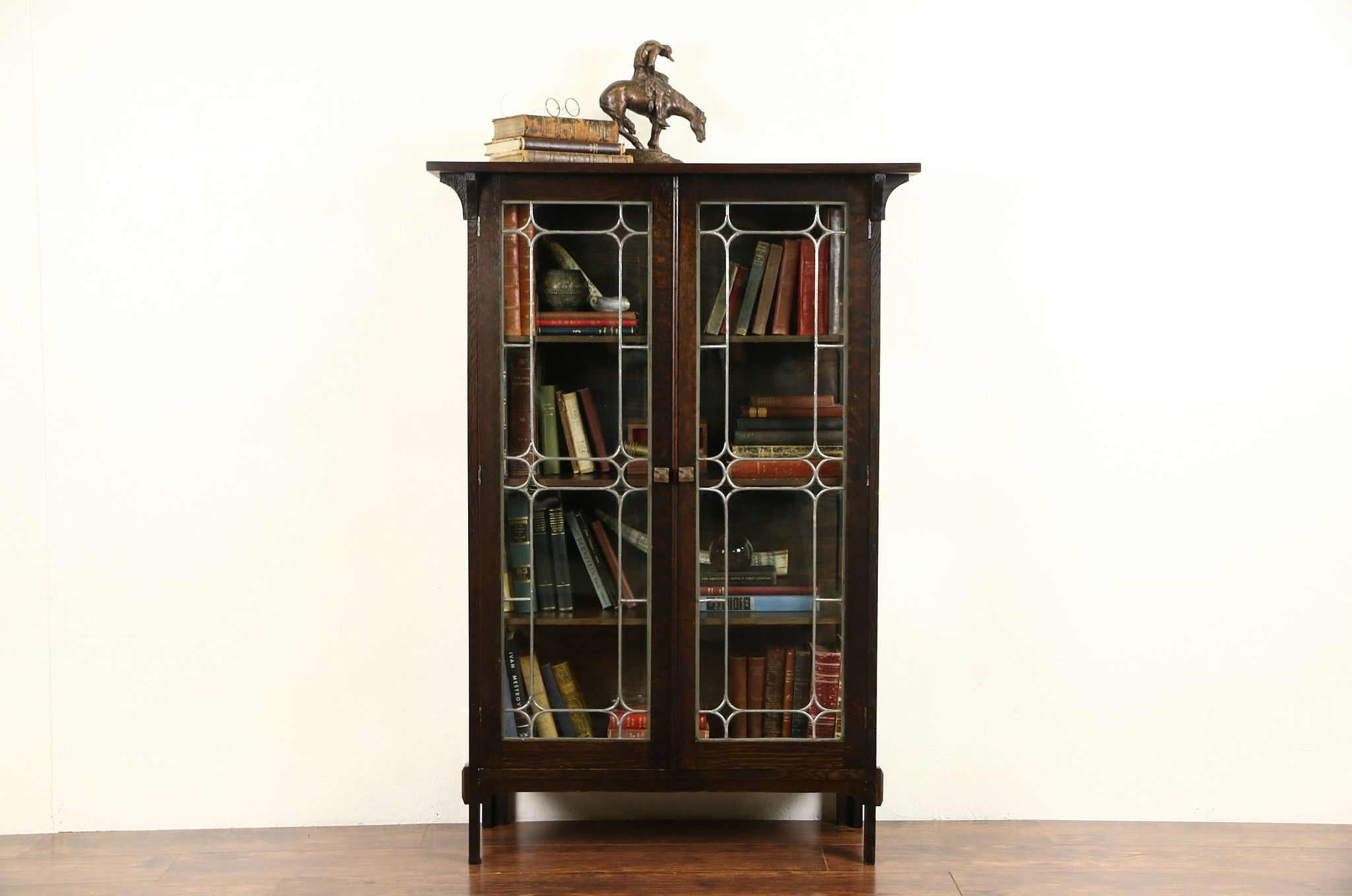 SOLD - Arts & Crafts Mission Oak 1905 Antique China Curio Cabinet ...