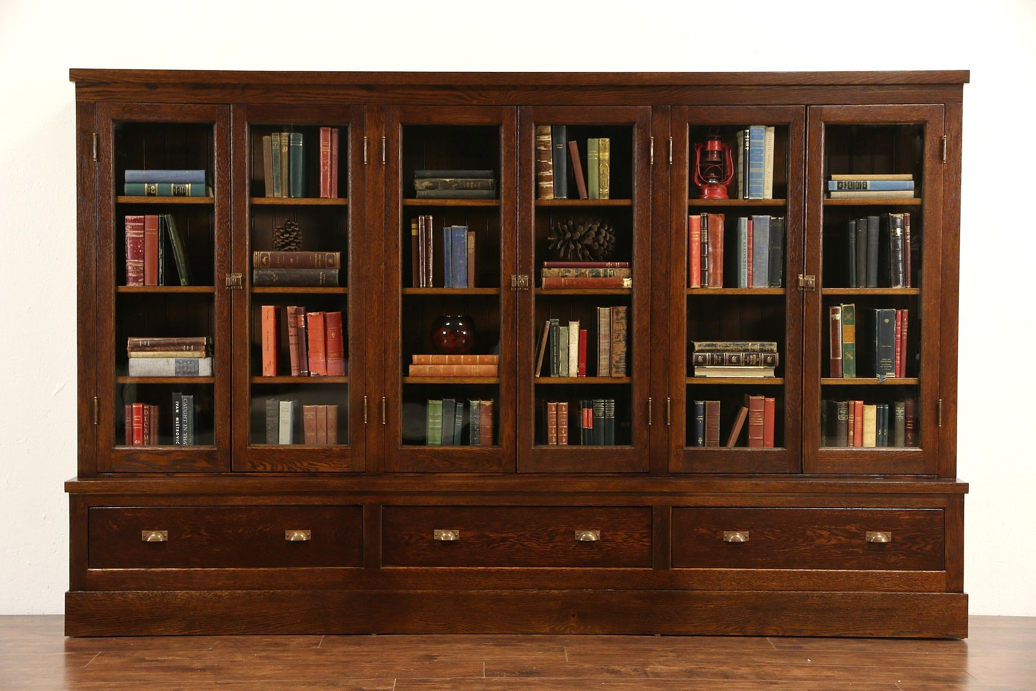oak arts crafts 1900 antique bookcase pantry or display cabinet