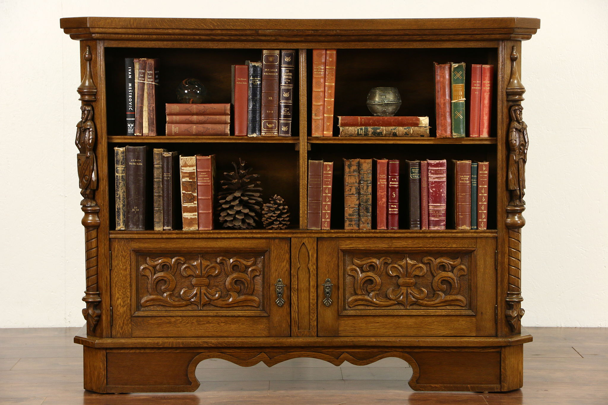 Charmant Oak 1915 Antique Scandinavian Library Bookcase, Carved Knights ...