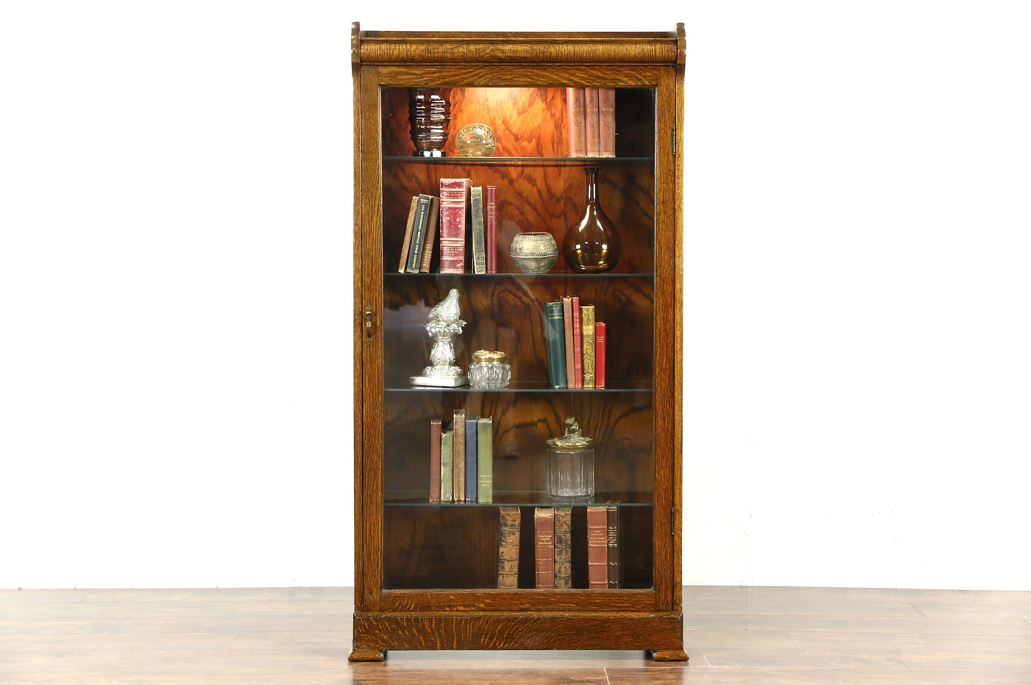 Oak 1910 Antique Bookcase, Lighted Curio Display Or Bathroom Cabinet