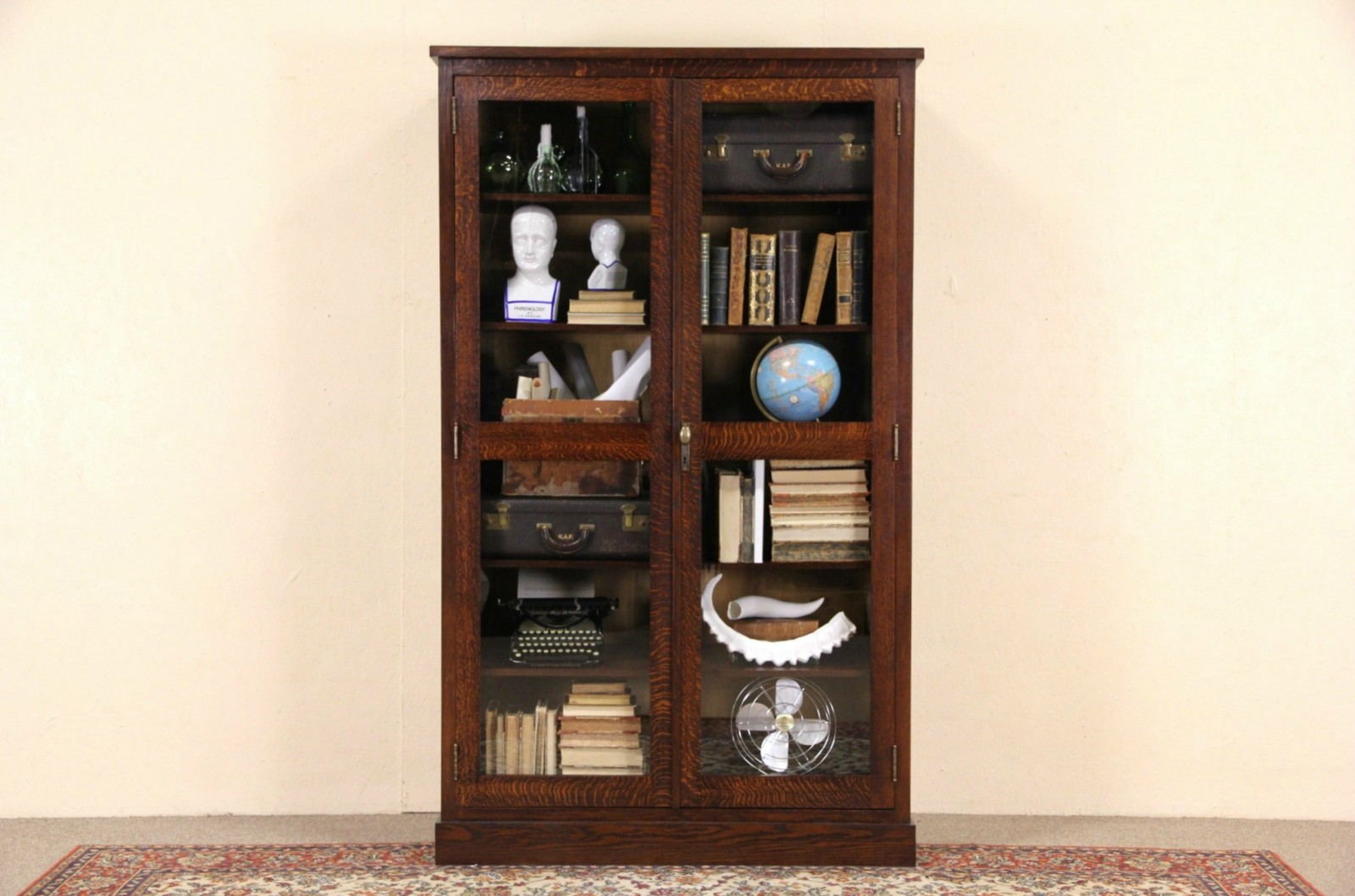 Sold art crafts mission oak 1910 antique bookcase or display art crafts mission oak 1910 antique bookcase or display cabinet glass doors planetlyrics Gallery