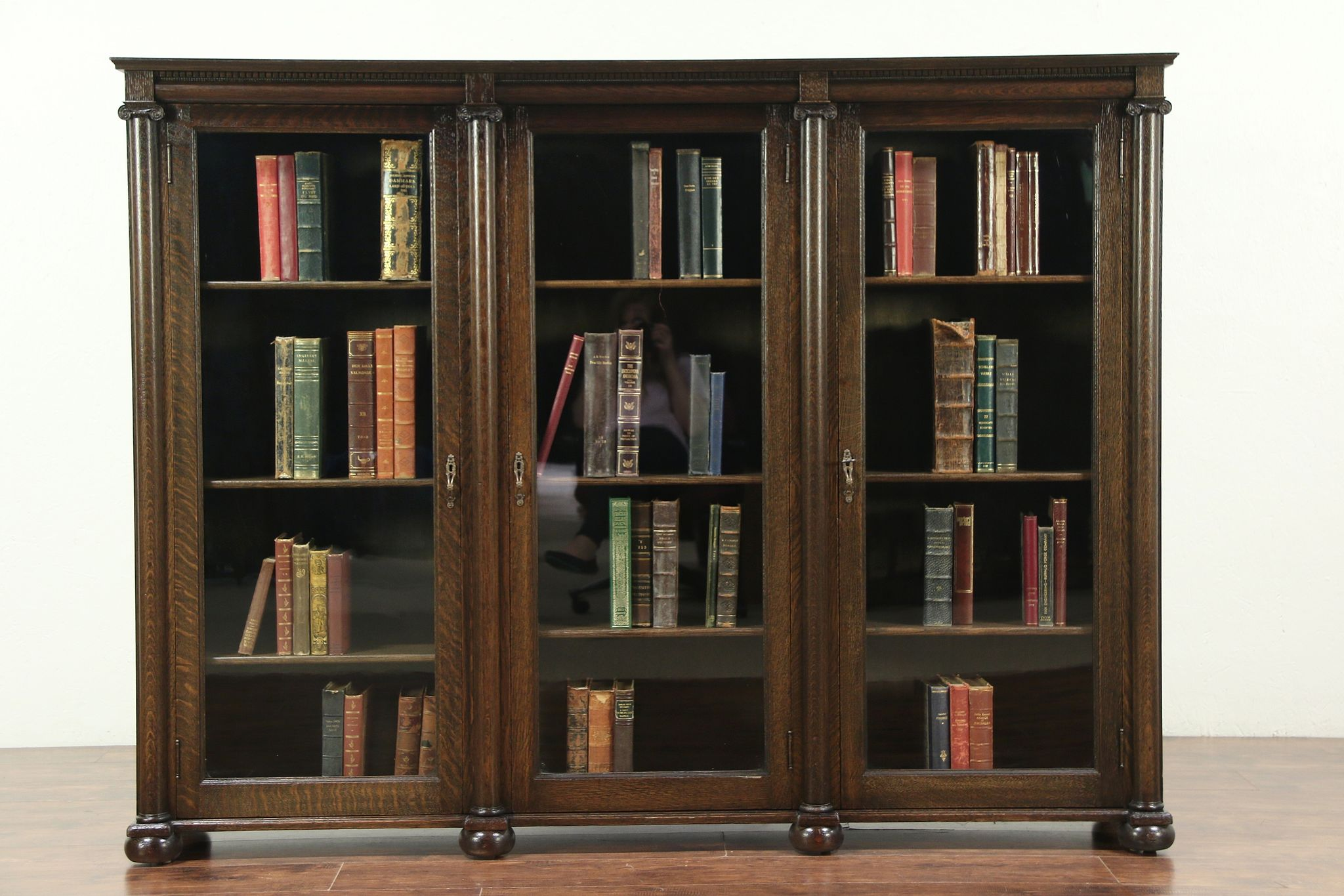 sold oak classical antique triple library bookcase adjustable rh harpgallery com