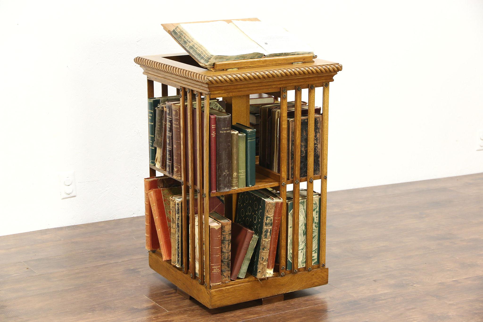 Oak Antique Spinning Bookshelf, Revolving Chairside Bookcase, Signed Danner  ...