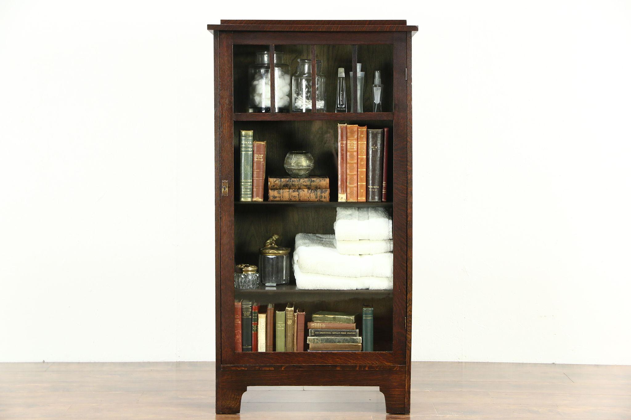Arts U0026 Crafts Mission Oak Antique Bookcase Craftsman Bath Cabinet