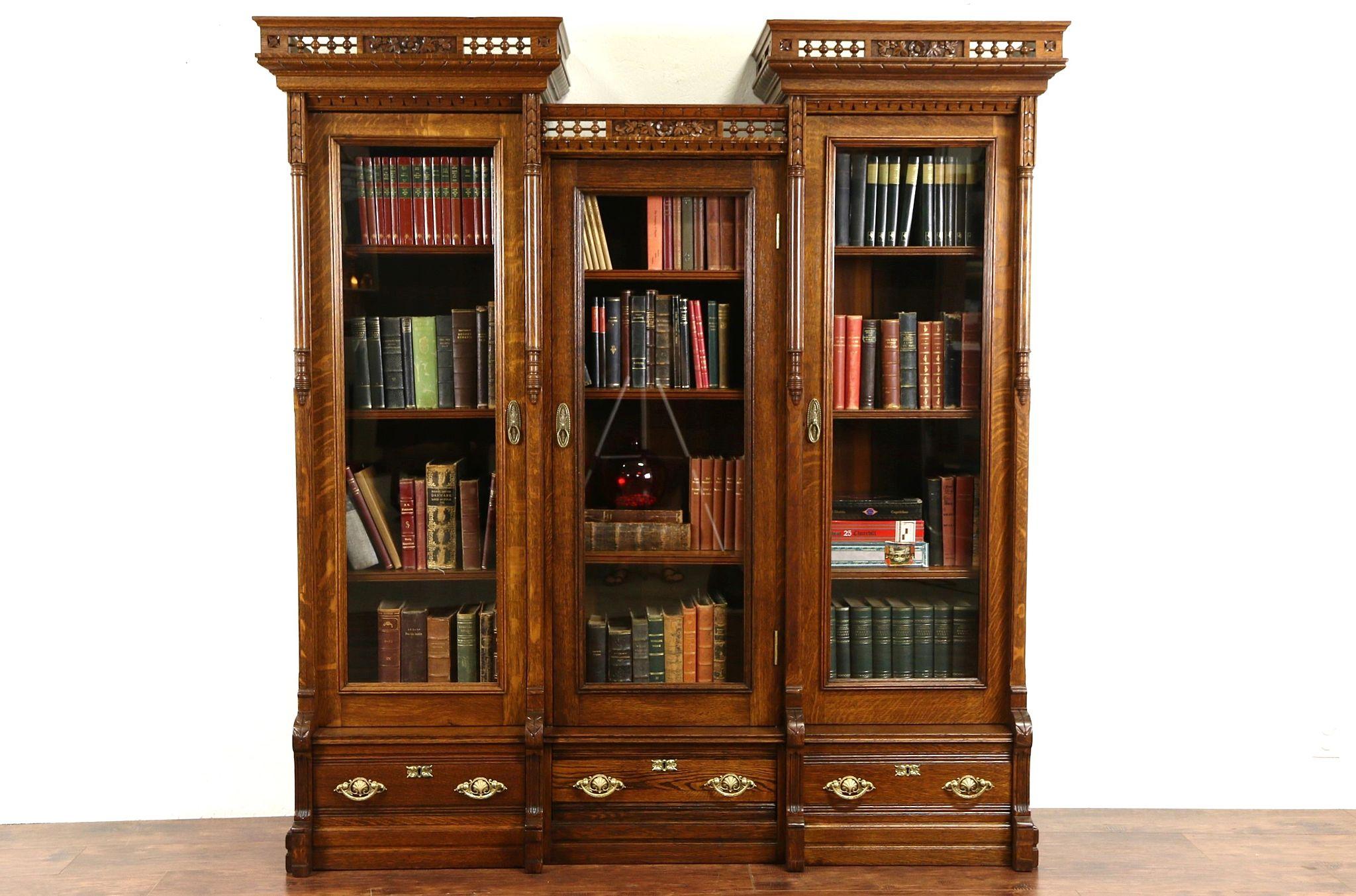 Victorian Eastlake 1880 S Antique Carved Oak Triple Library Bookcase