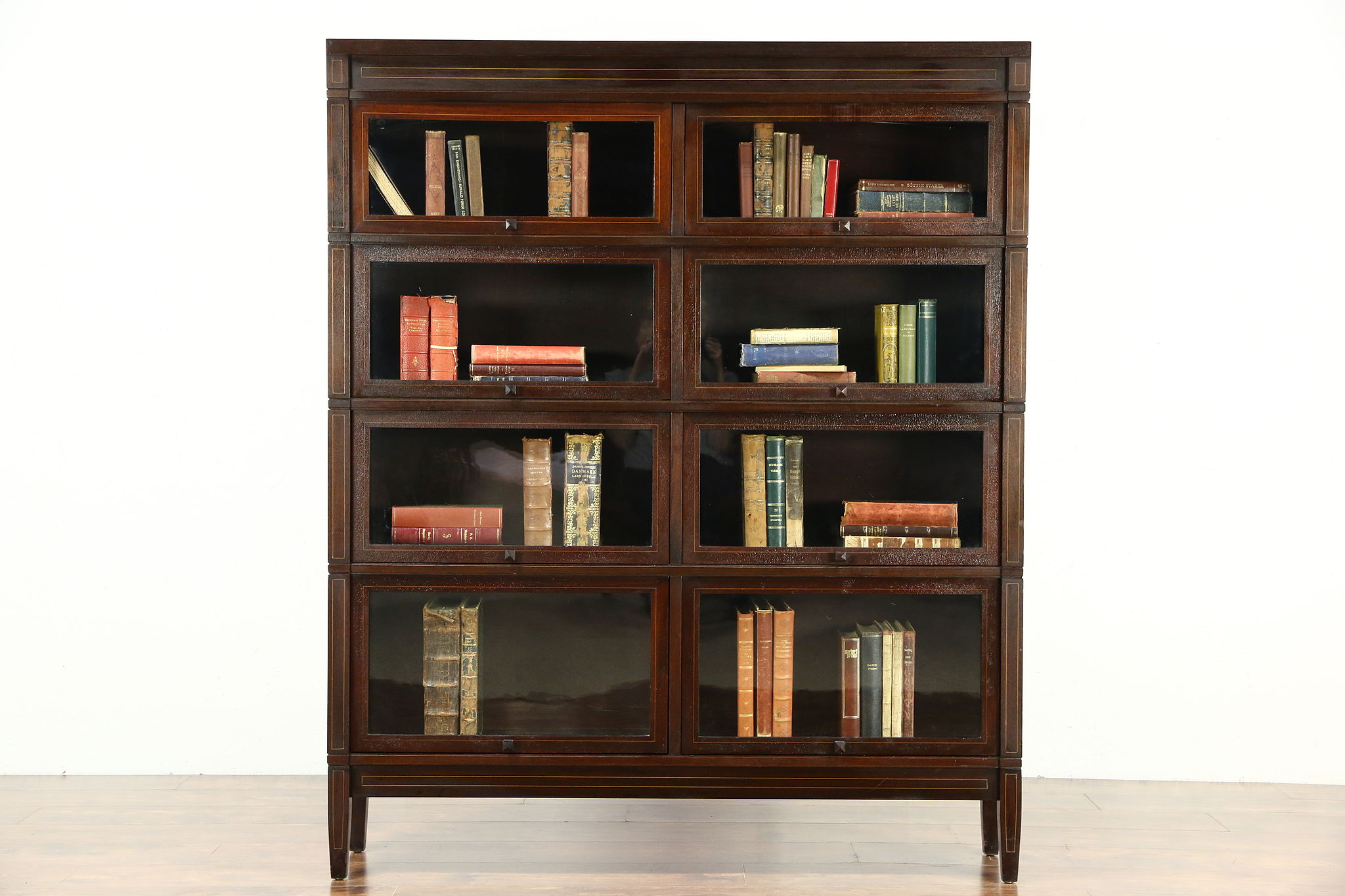 Double Wide 4 Stack Antique Mahogany Lawyer Bookcase Signed Globe Sheraton