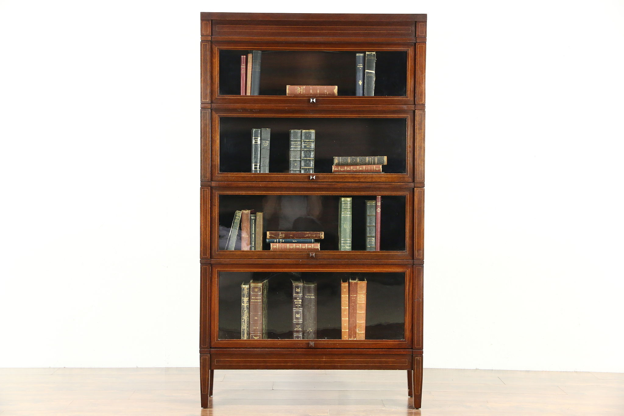 Mahogany 4 Stack Antique 1910 Lawyer Bookcase Signed Globe Sheraton Line