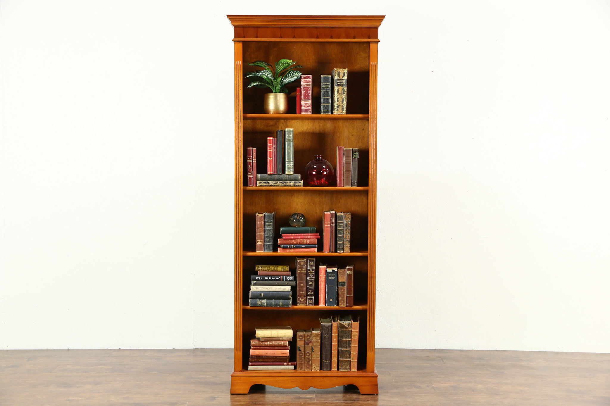 Ordinaire Library Yew Wood Bookcase, Adjustable Shelves, Richwoods Of London 1995