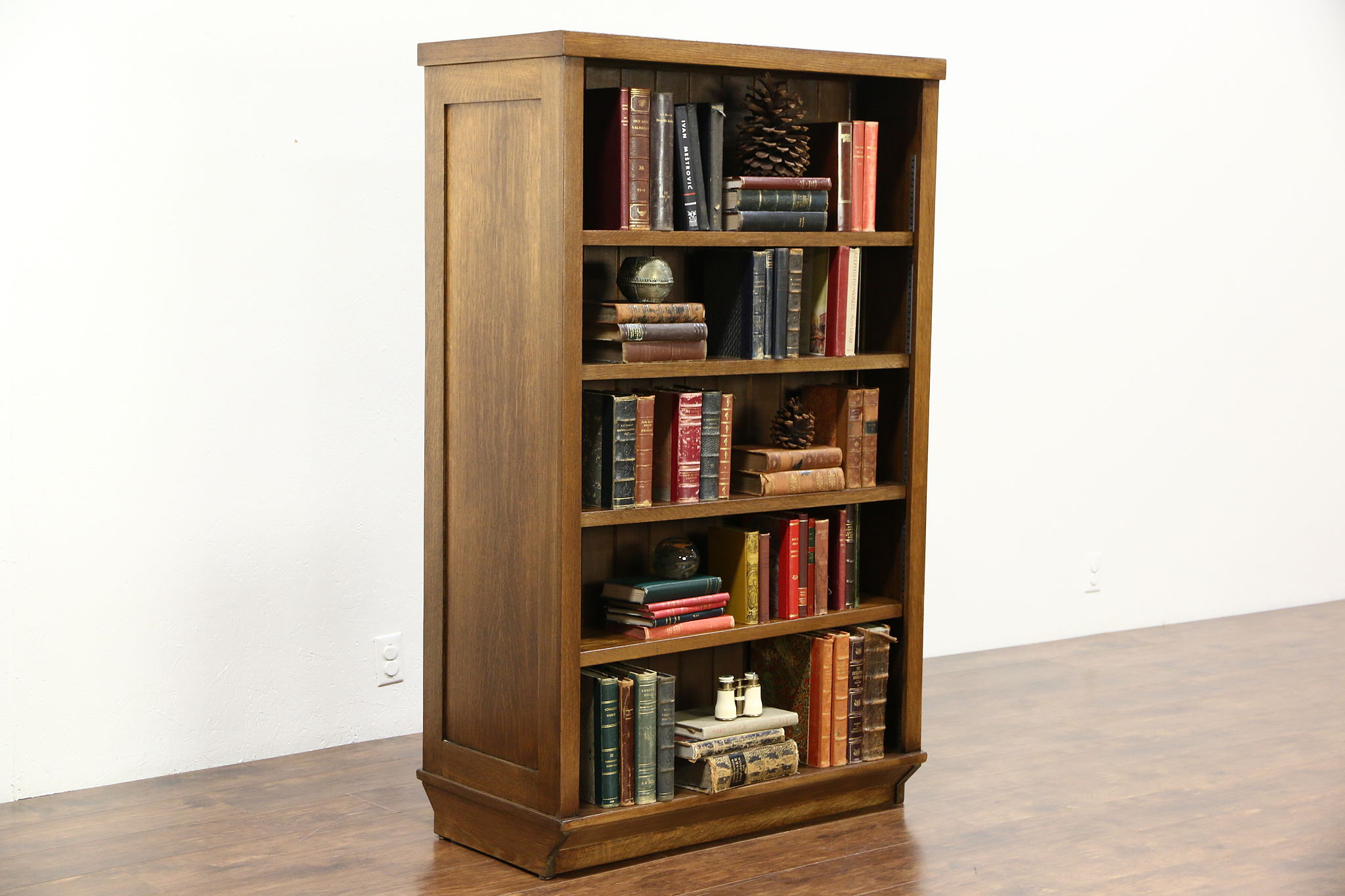 Oak Antique 1910 Double Sided Room Divider Library Bookcase