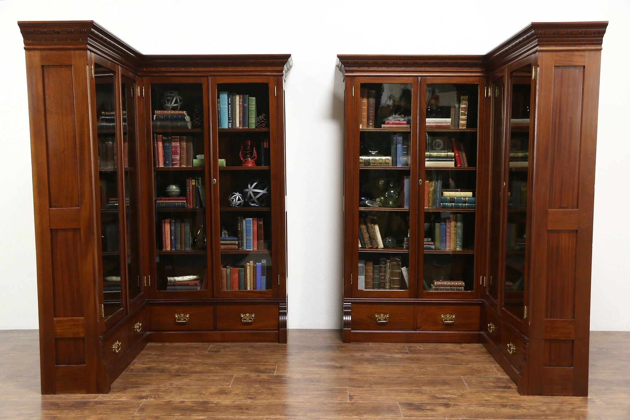 Pair 1890 Antique Mahogany Library Corner Bookcases Glass Doors Disassemble