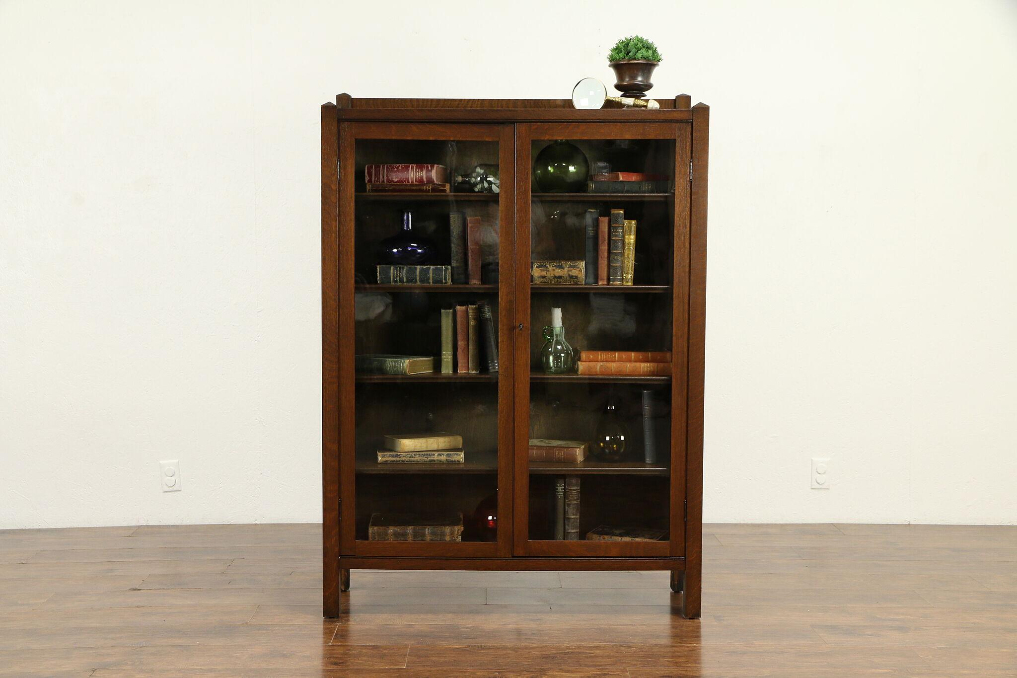 Art Crafts Mission Oak Antique Craftsman Bookcase Wavy Glass Doors 31728