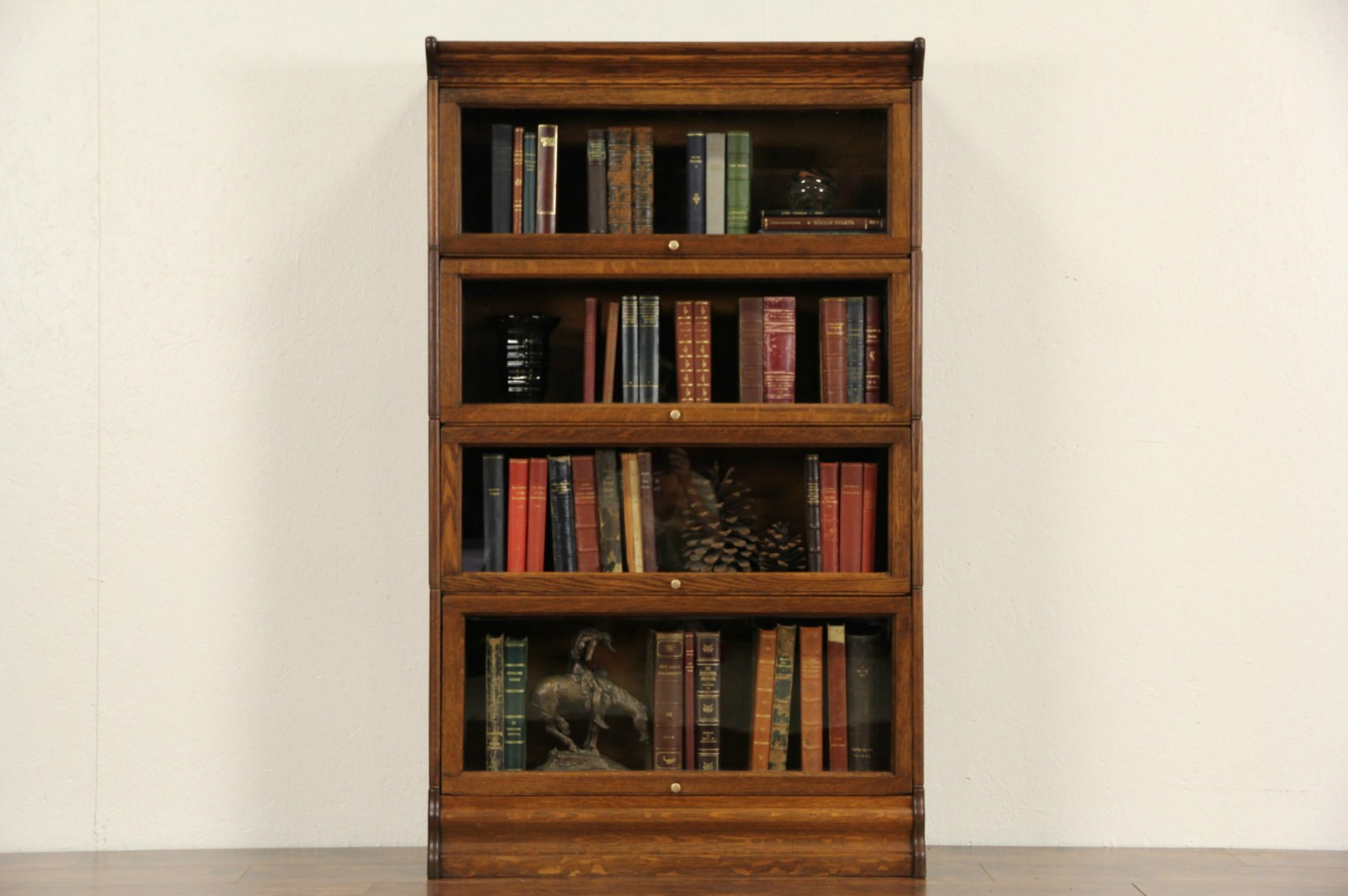 Sold Oak 4 Stack 1900 Antique Lawyer Bookcase Glass