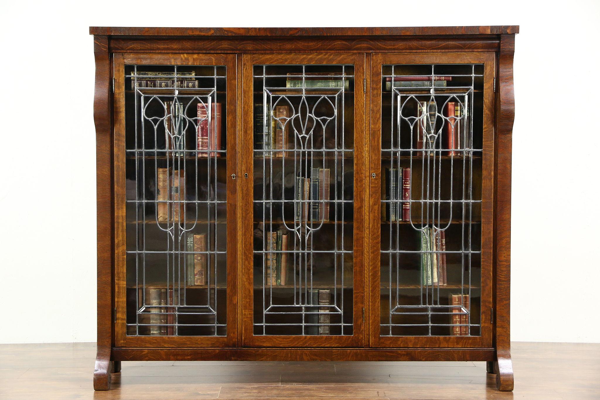 Oak 1900 Antique Empire Triple Library Bookcase Leaded Beveled Gl Doors