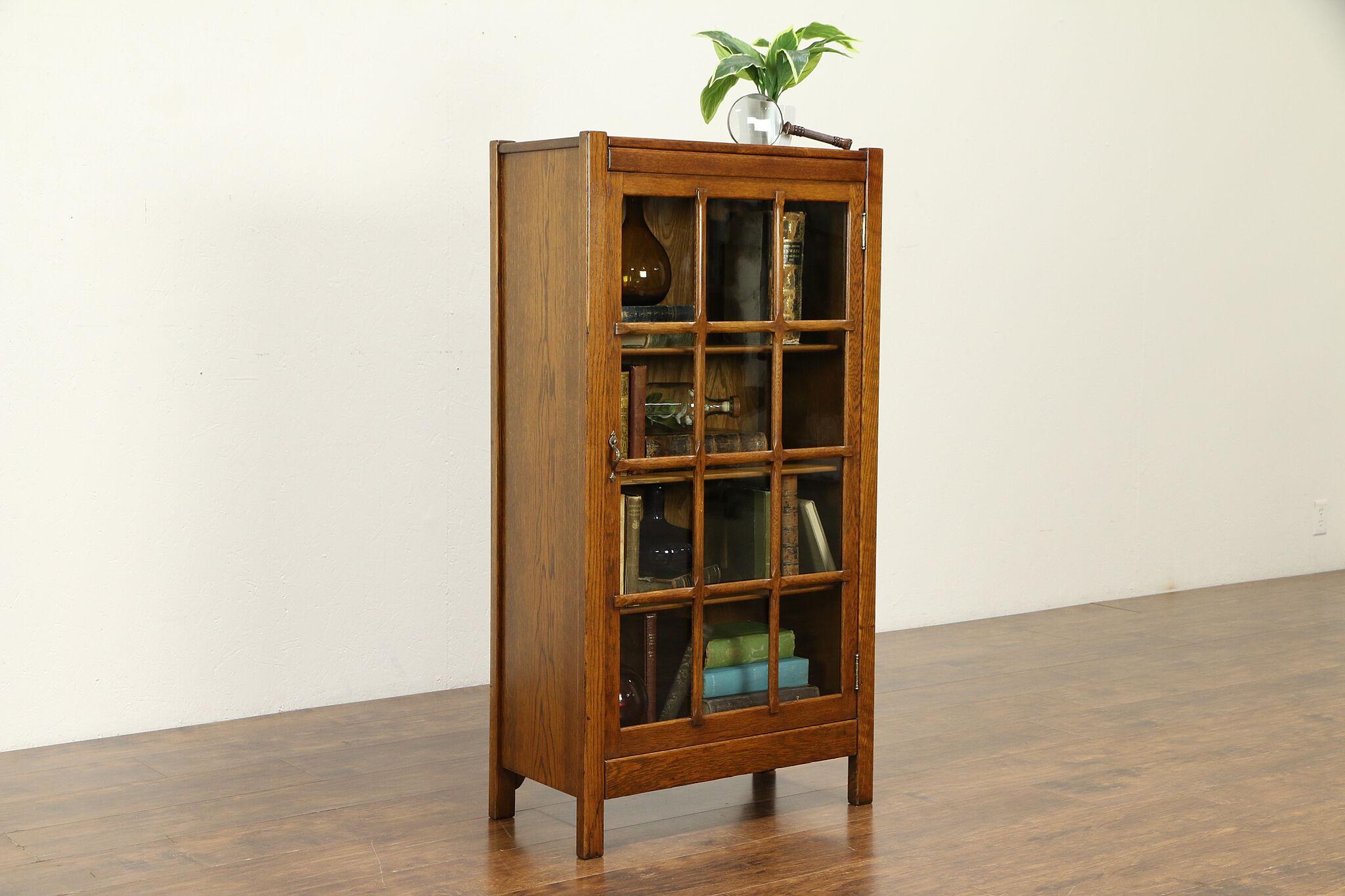 Arts Crafts Mission Oak Antique Bookcase Or Craftsman Bath Cabinet 31925