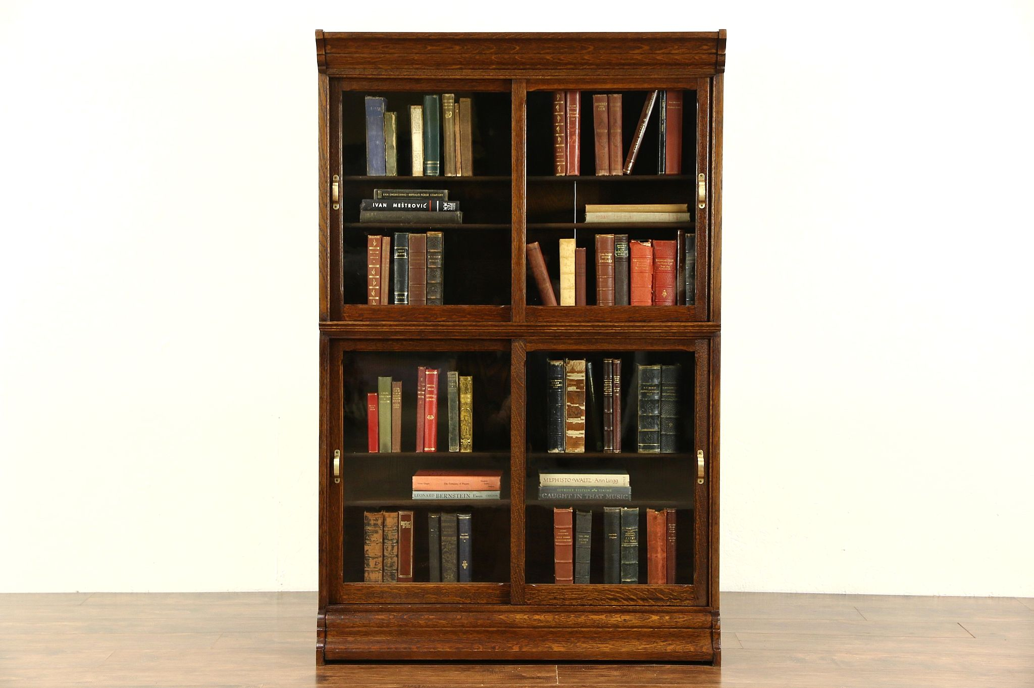 Danner Signed Stacking Oak 1900 Antique Bookcase, Sliding Wavy Glass Doors