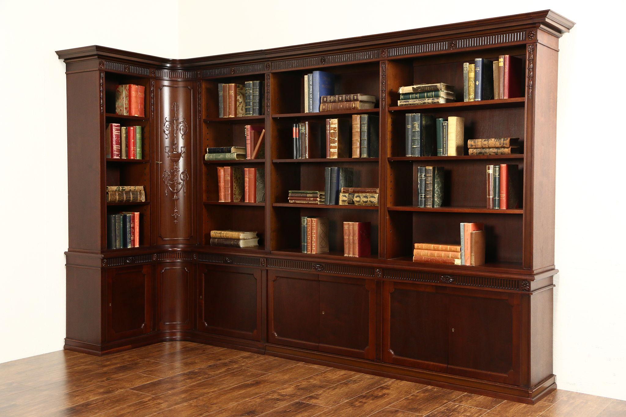Library Corner Bookcase Scandinavian 1920 Antique Carved Walnut 9 1 Wide