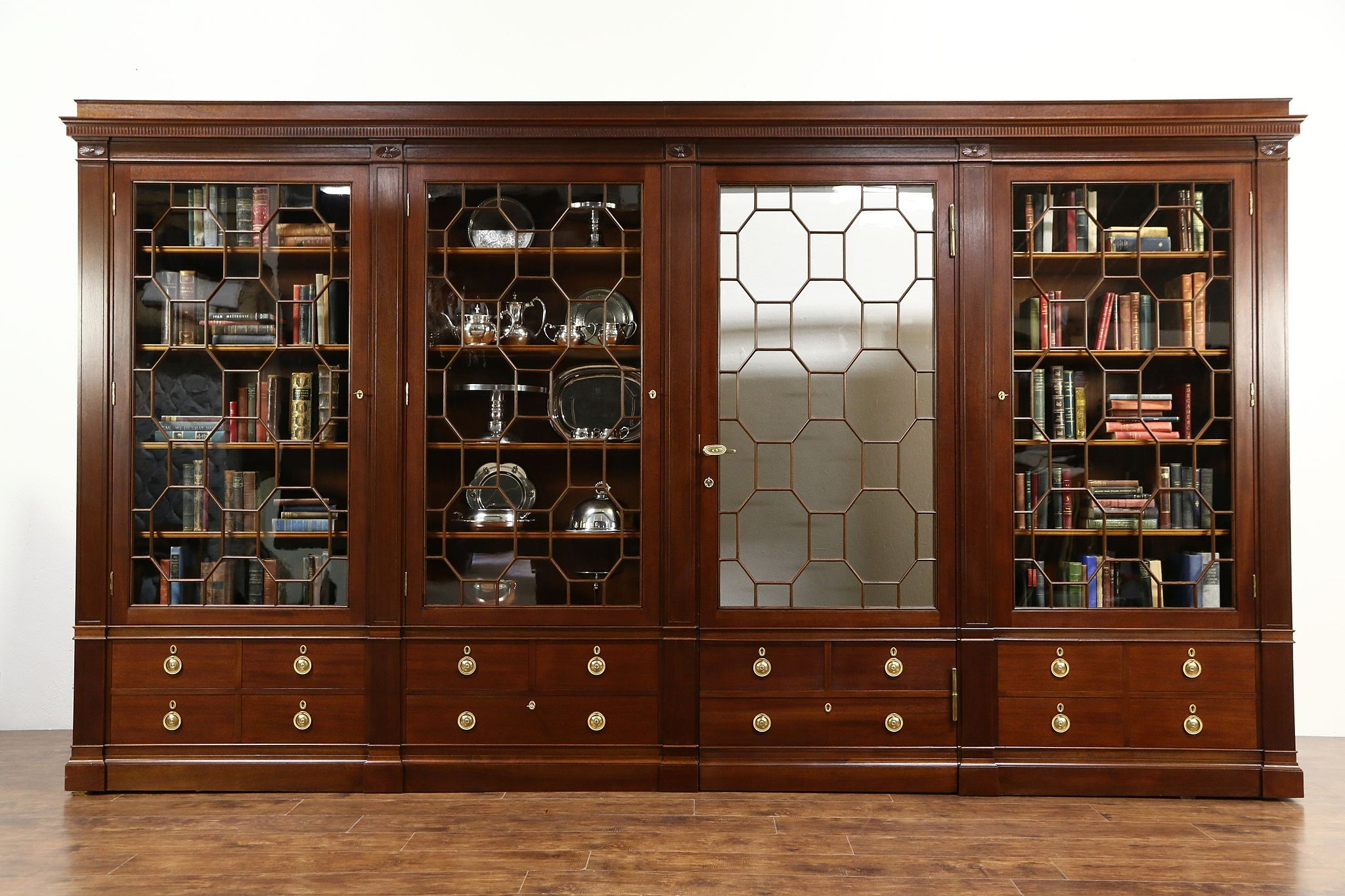 Classical Antique 1900 Mahogany China or Library Bookcase, Secret ...